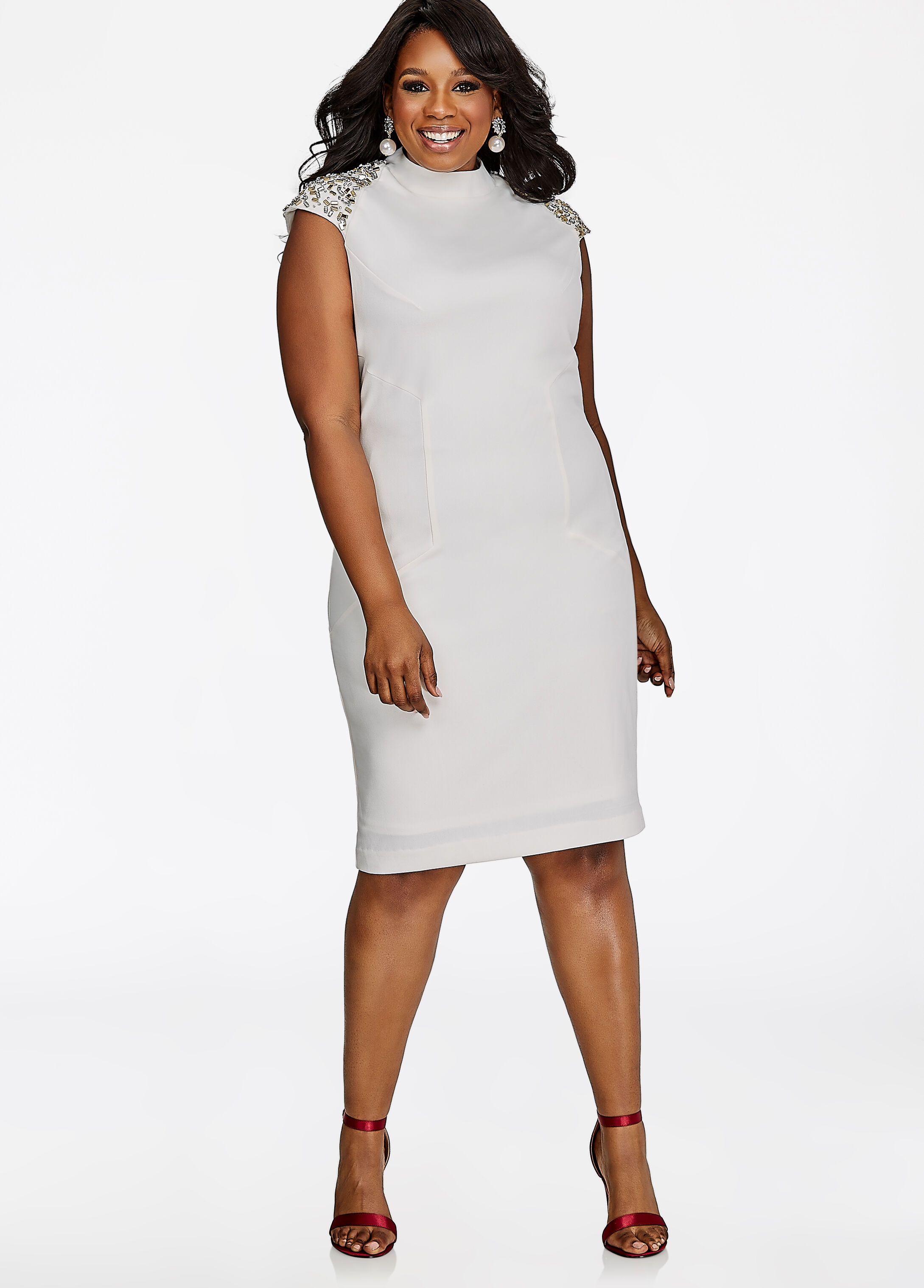 Beaded Shoulder Sheath Dress