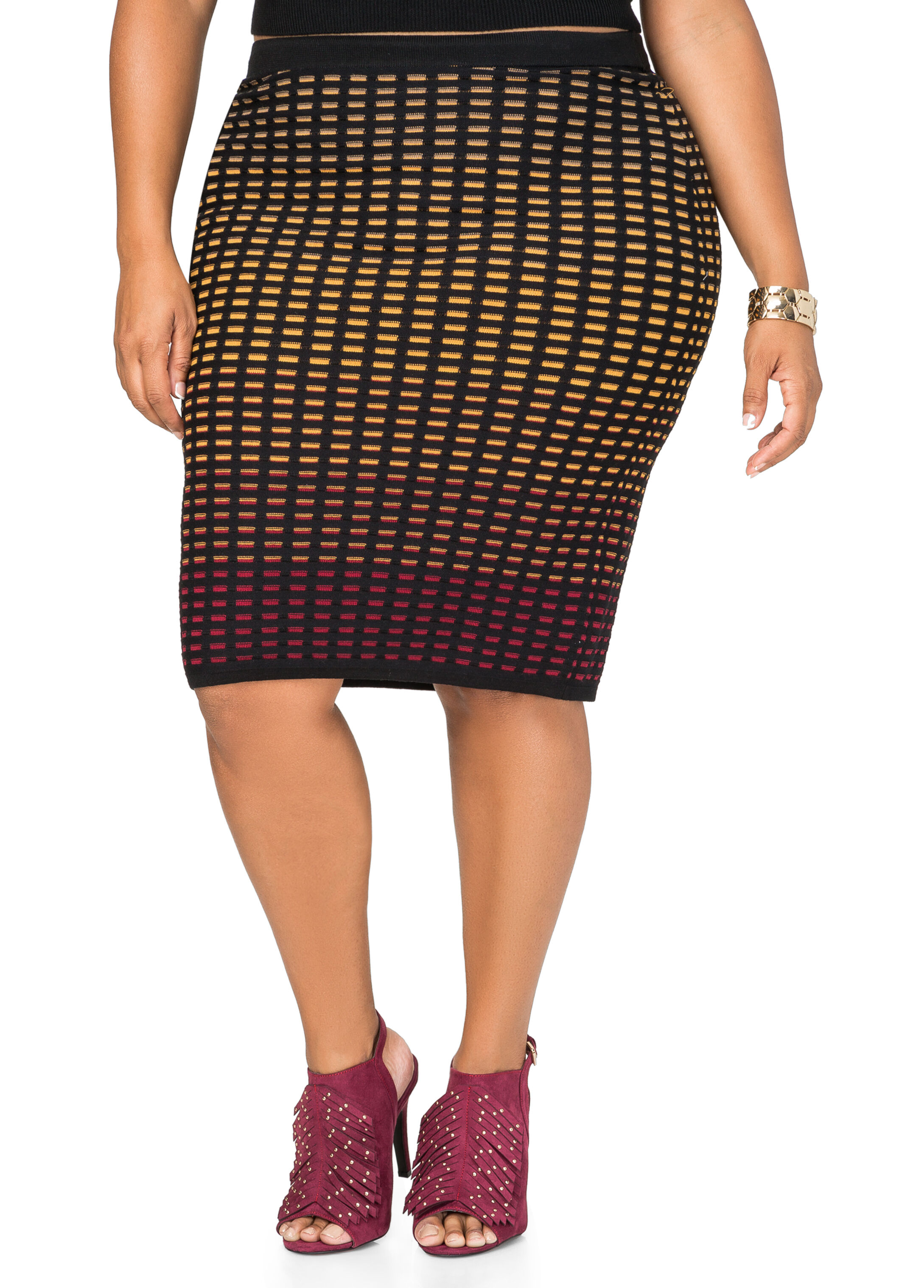 Ombre Geo Slim Skirt
