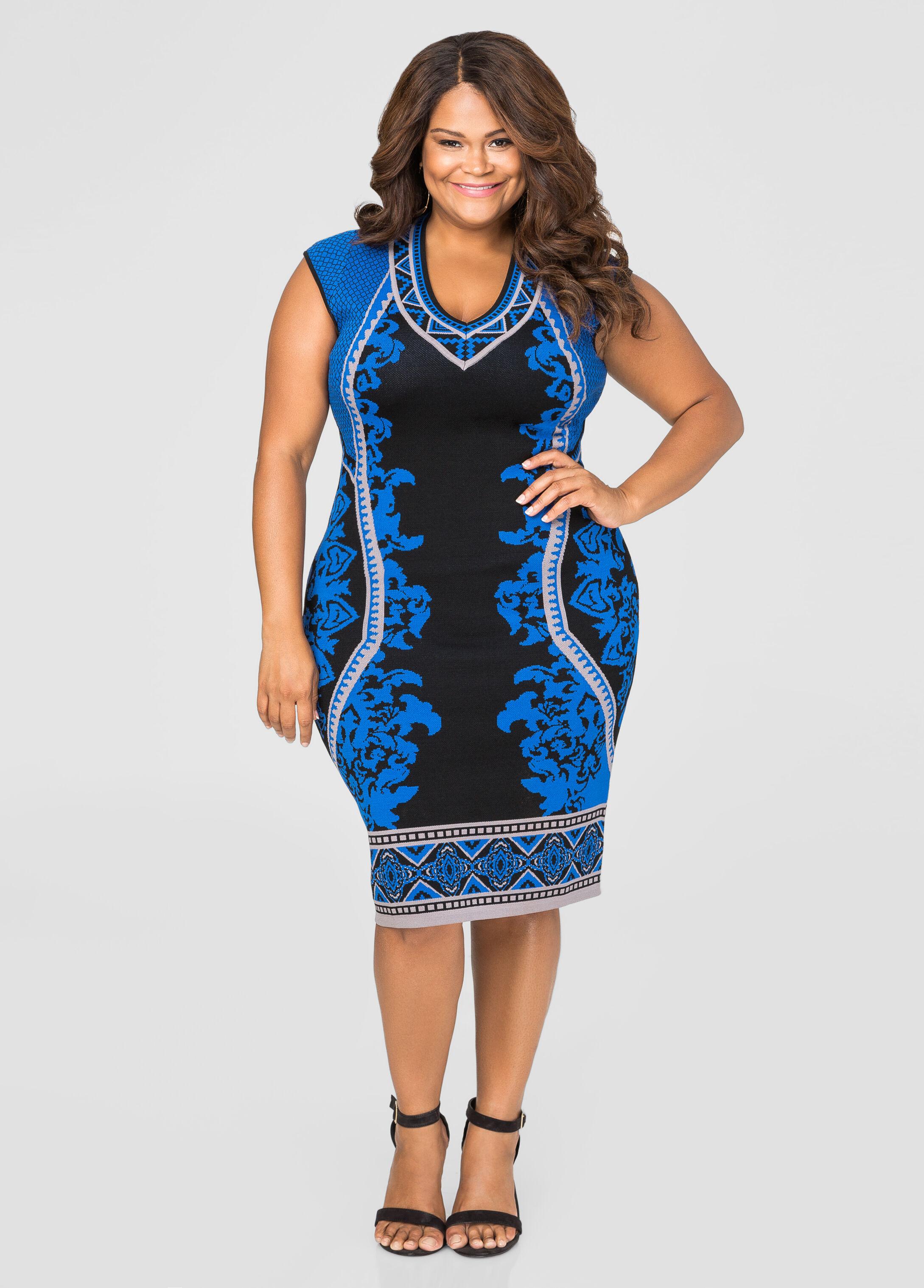 Status Print Bodycon Sweater Dress
