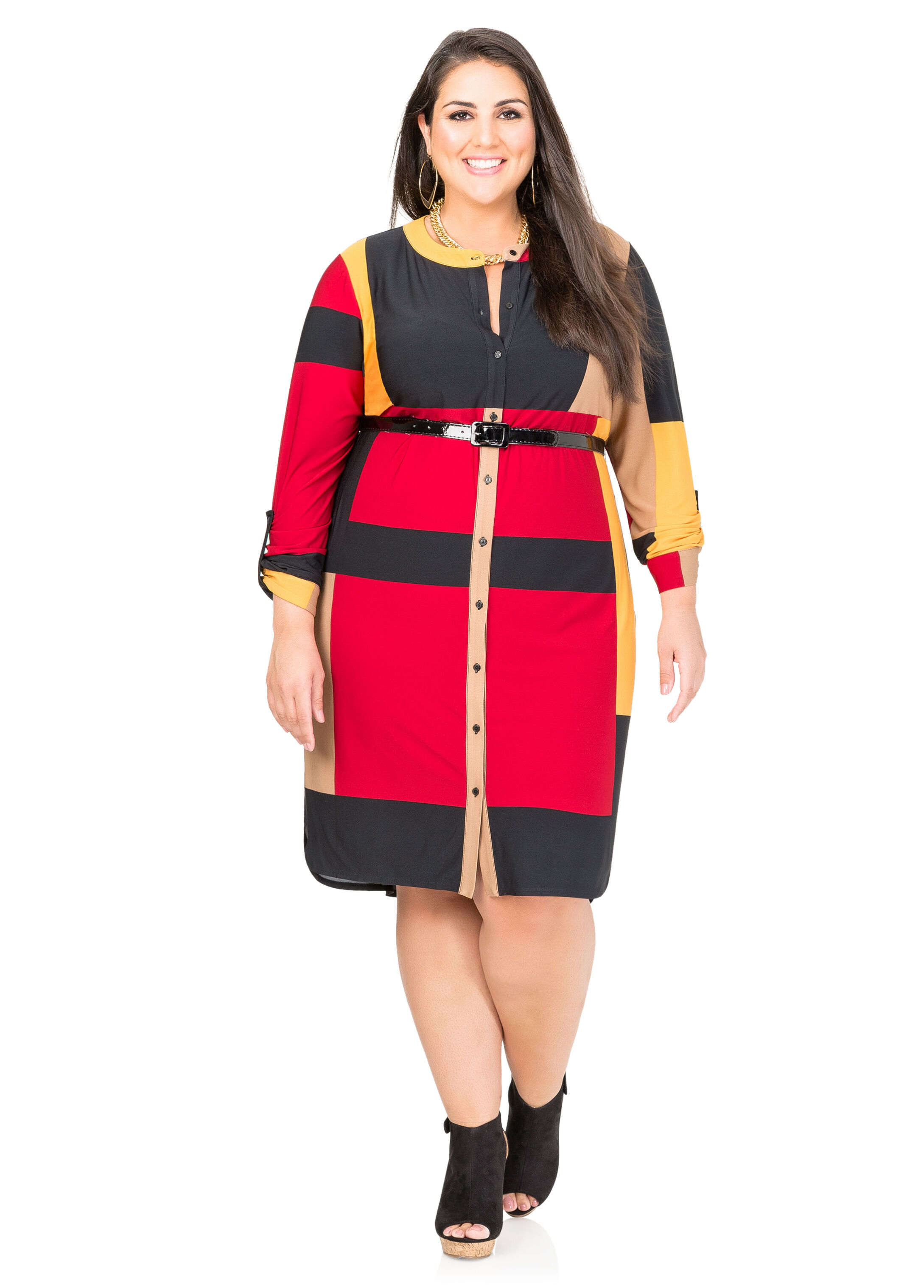 Belted Colorblock Shirtdress