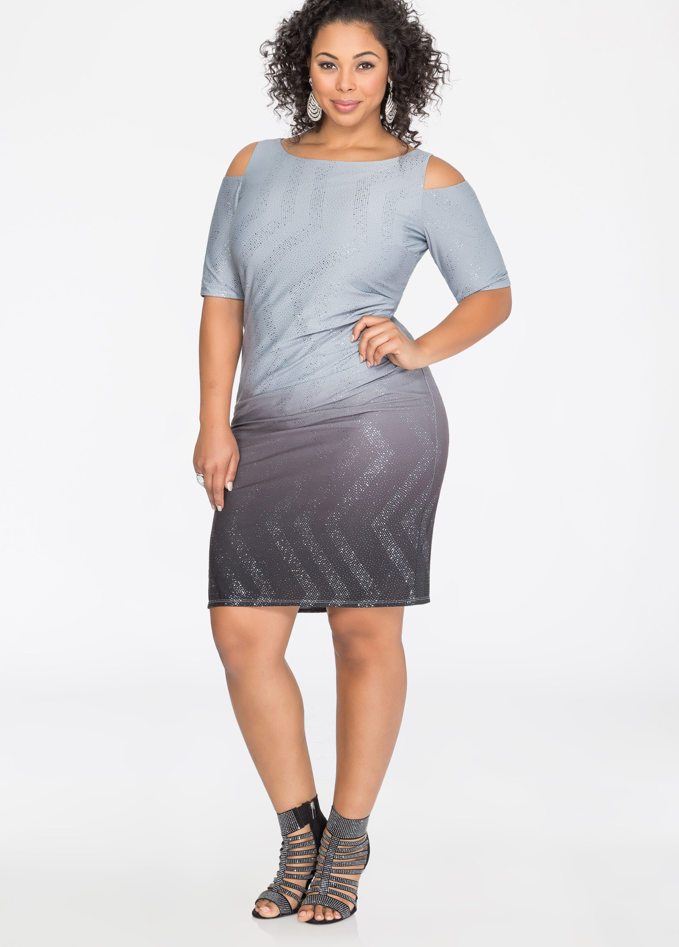 Cold Shoulder Metallic Ombre Dress