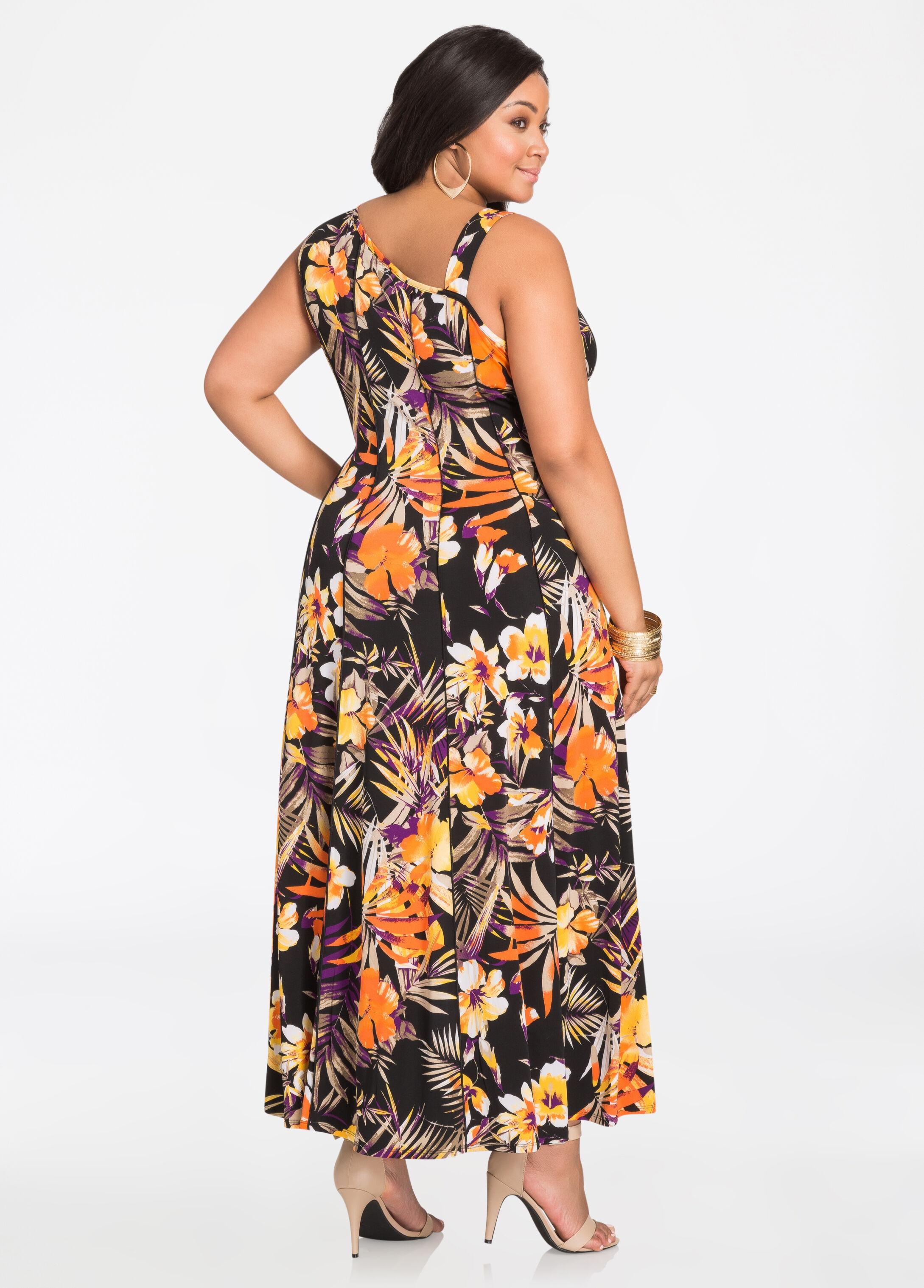 Asymmetrical Shoulder Tropical Print Maxi Dress