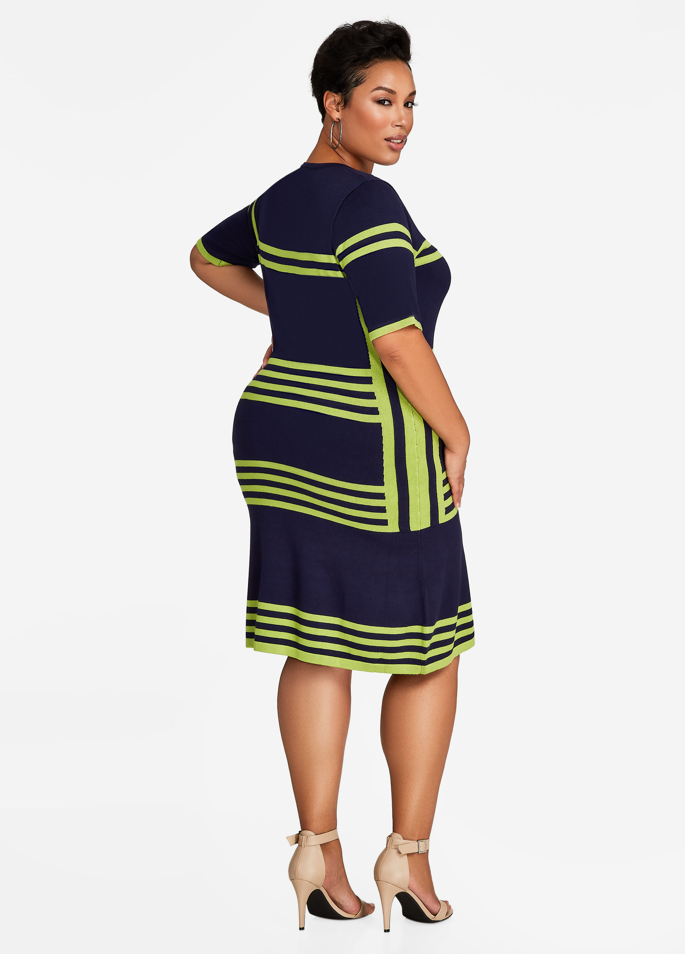 Colorblock Striped Sweater Dress