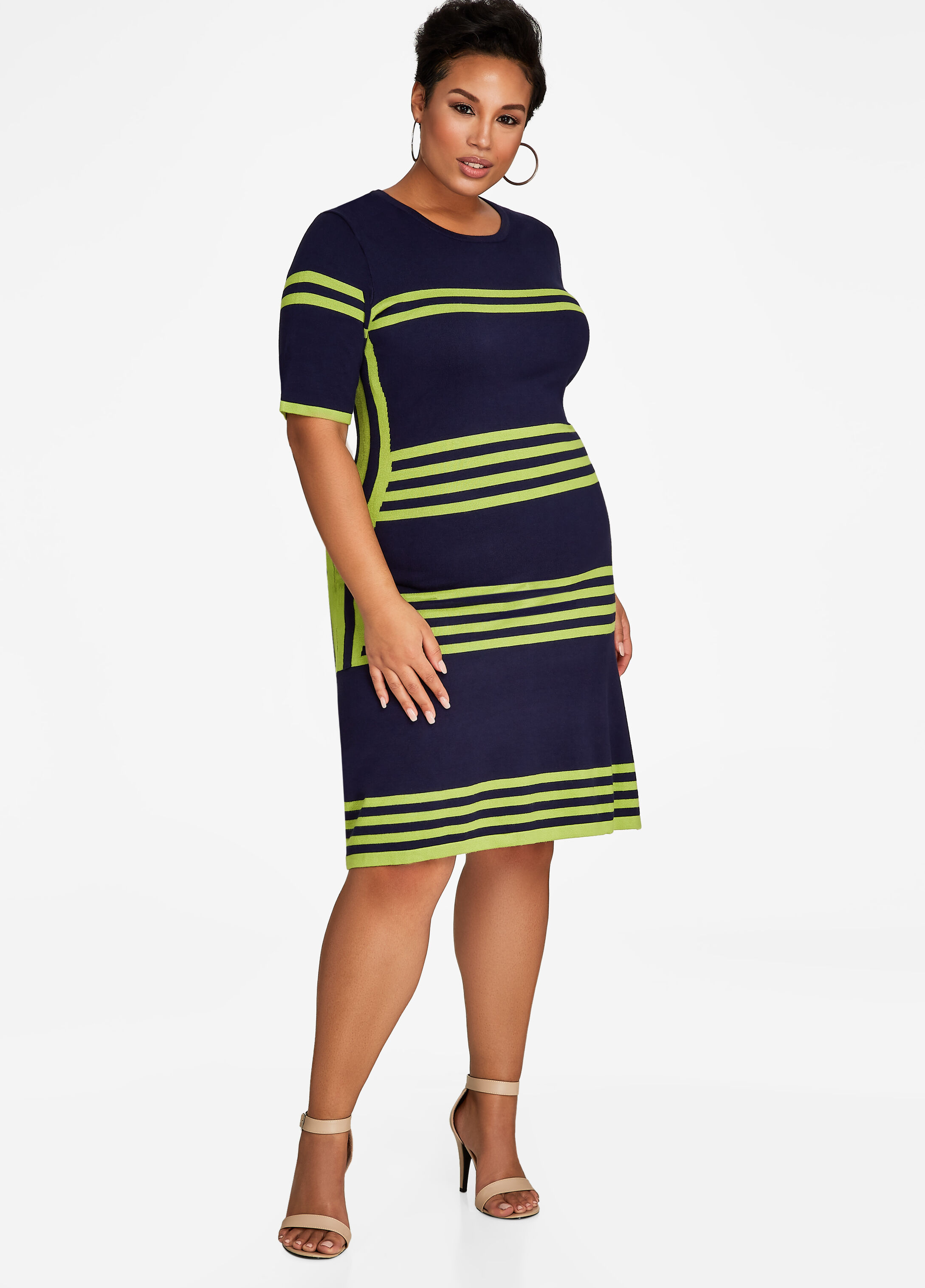 Colorblock Striped Sweater Dress
