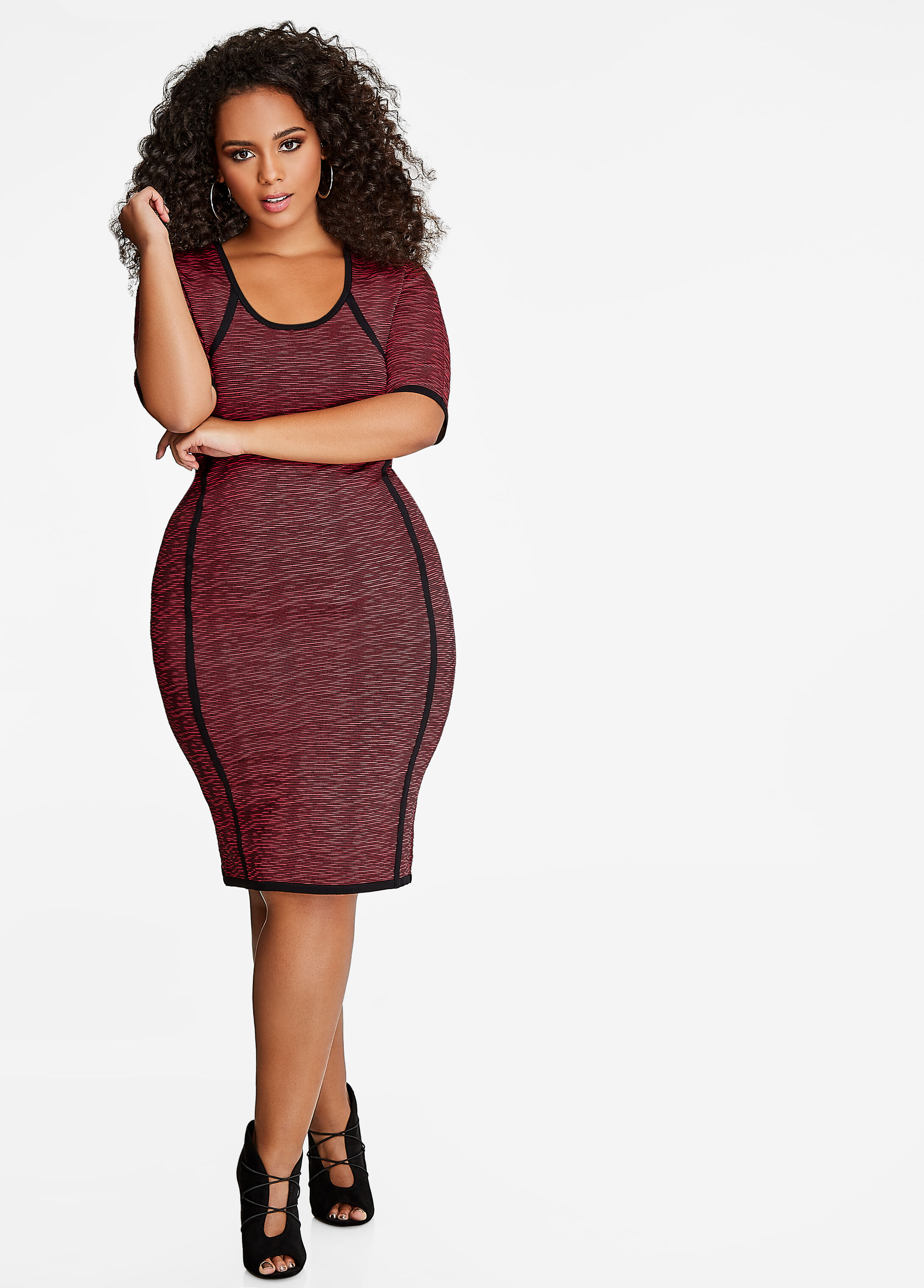 Space Dye Bodycon Sweater Dress Scooter Red - Sweater Dresses