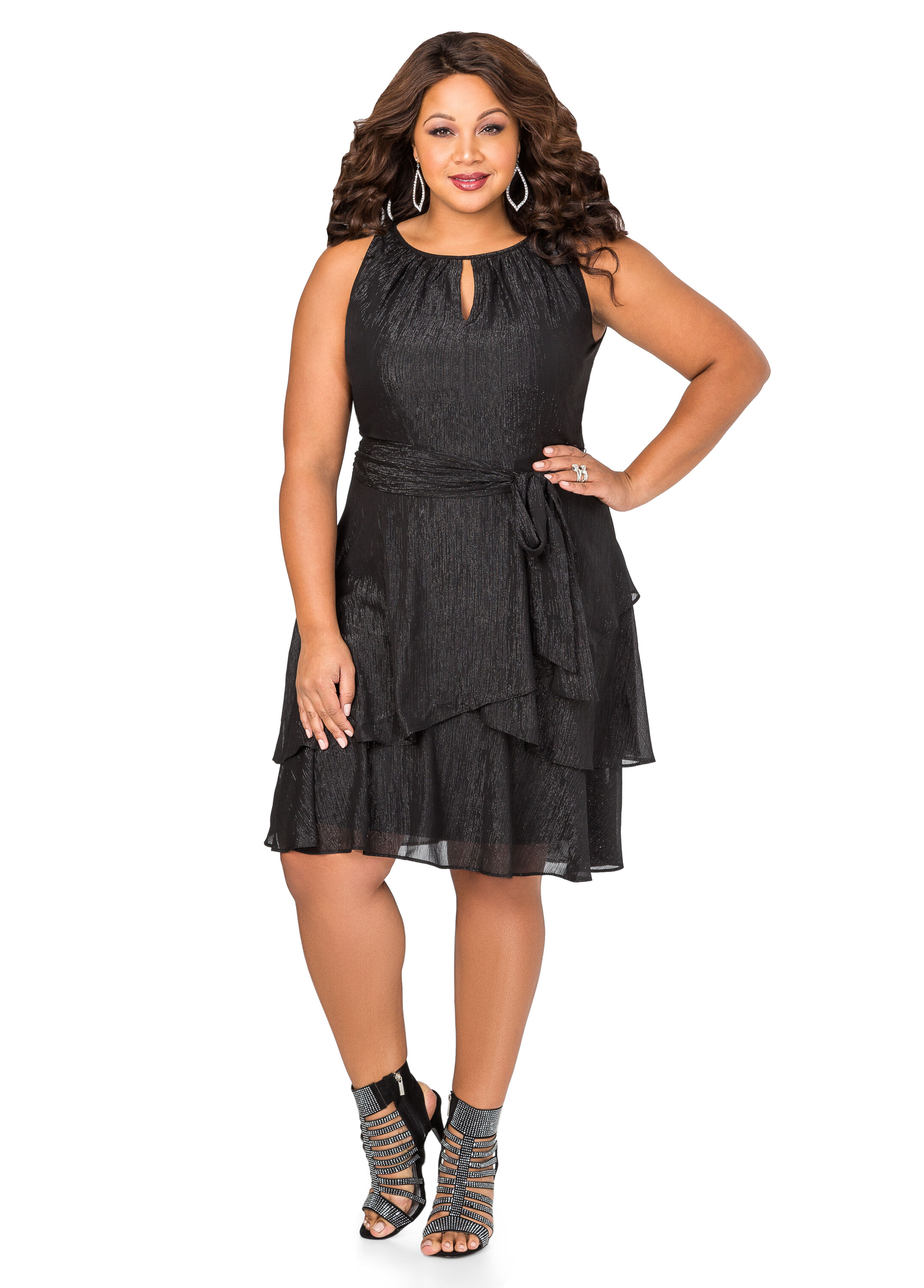 Tiered Metallic Special Occasion Dress