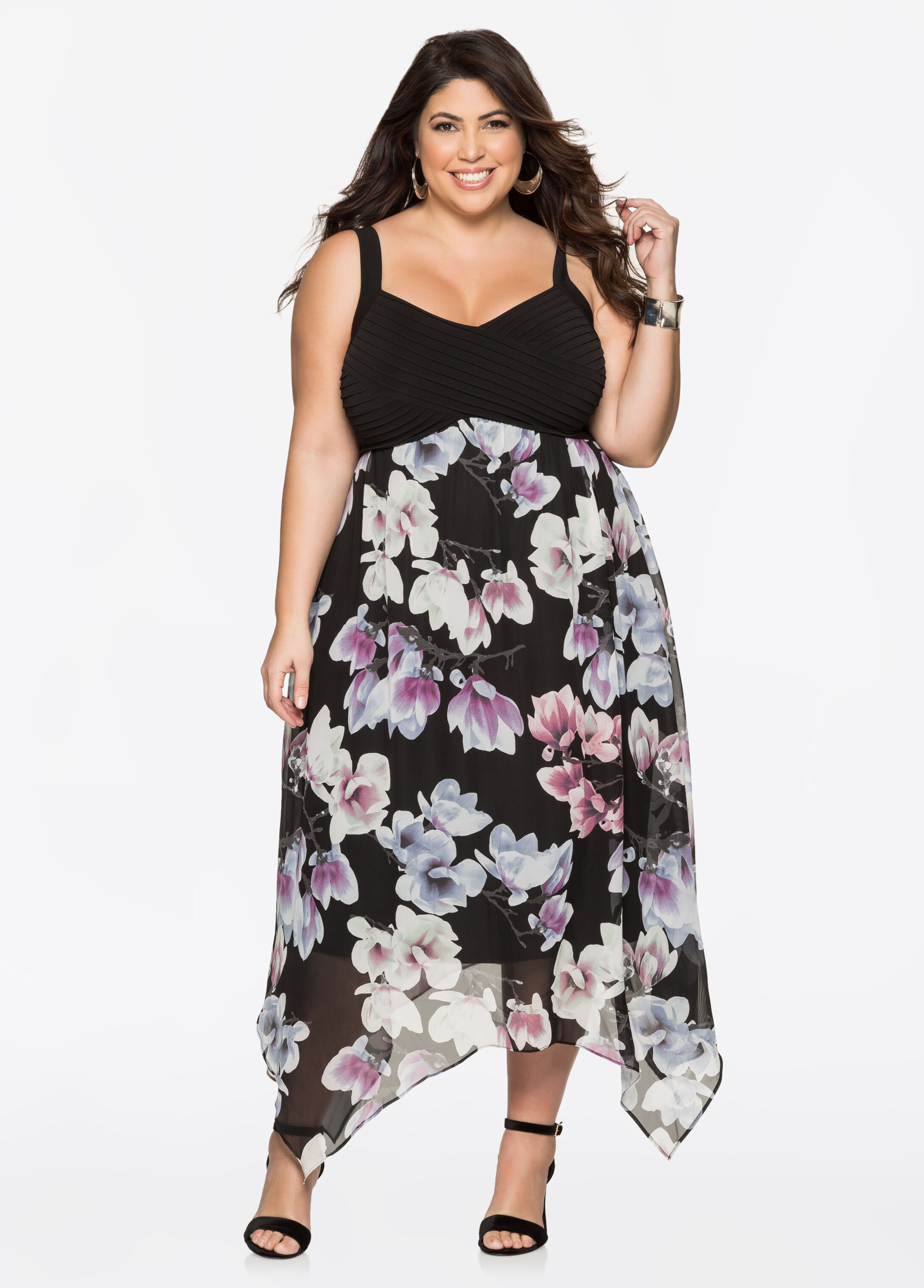 Floral Chiffon Maxi Dresses Black Combo - Clearance