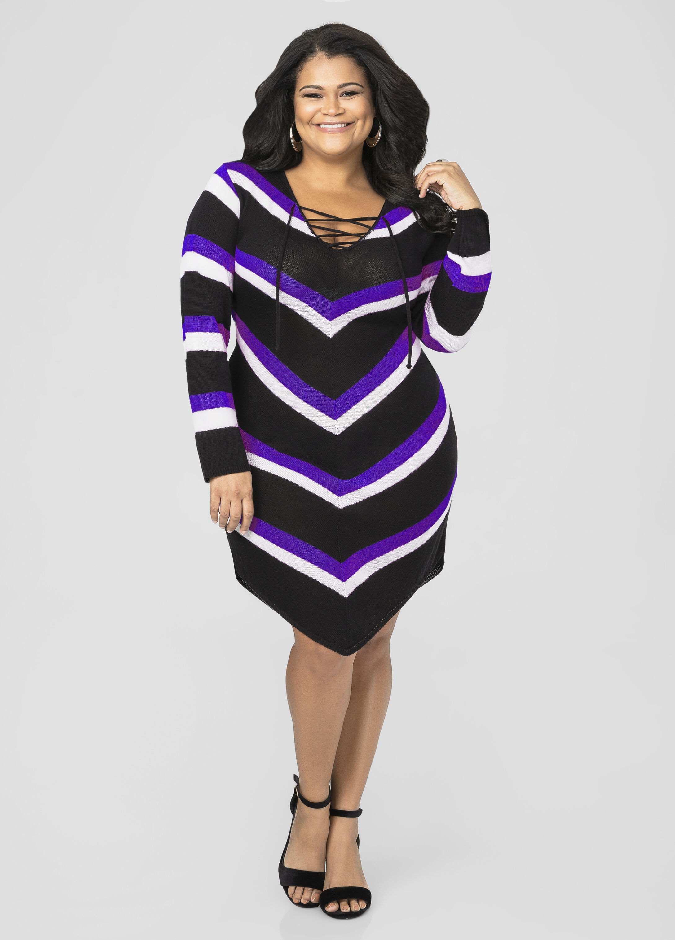 Lace-Up Chevron Sweater Dress