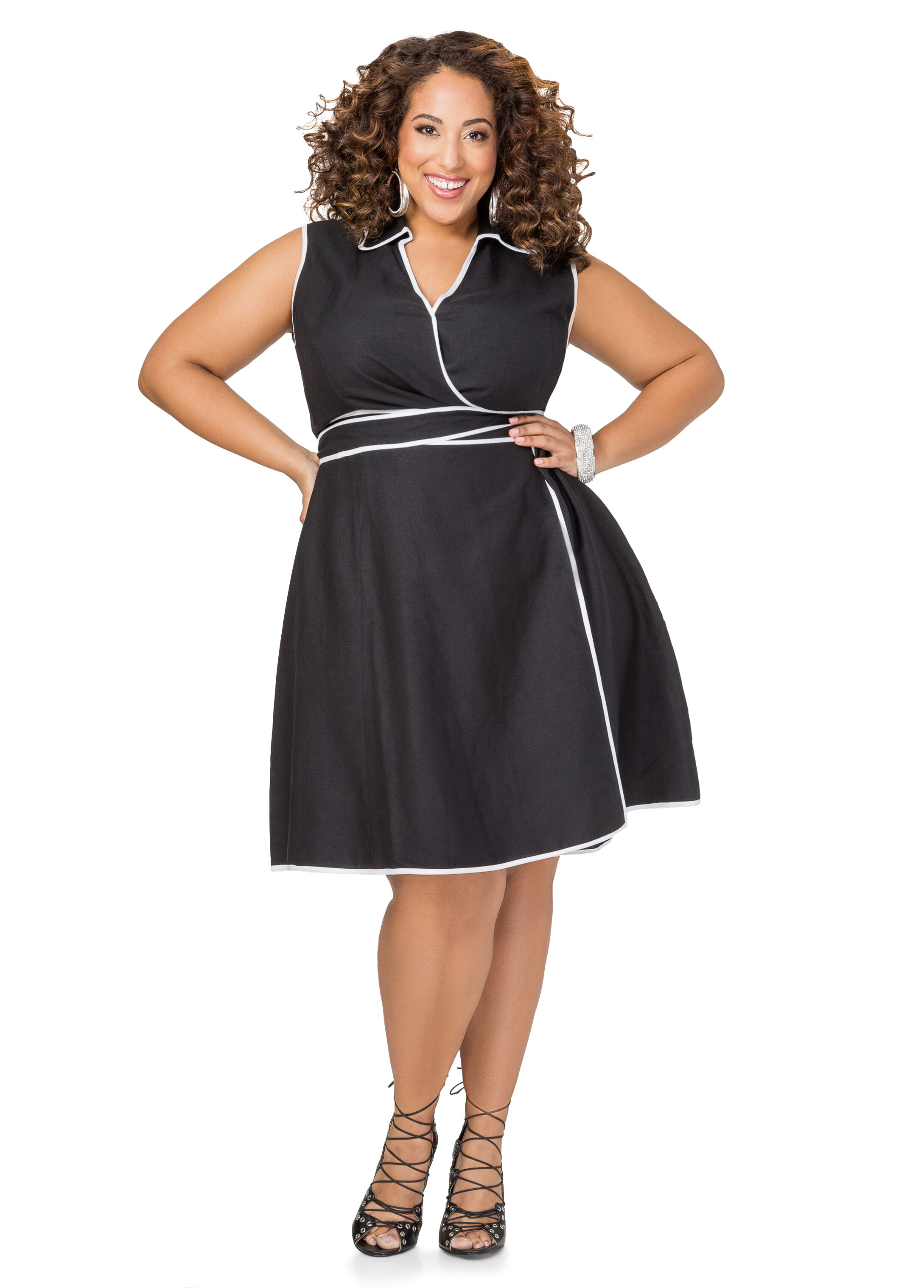 Piped LinenWrap Dress