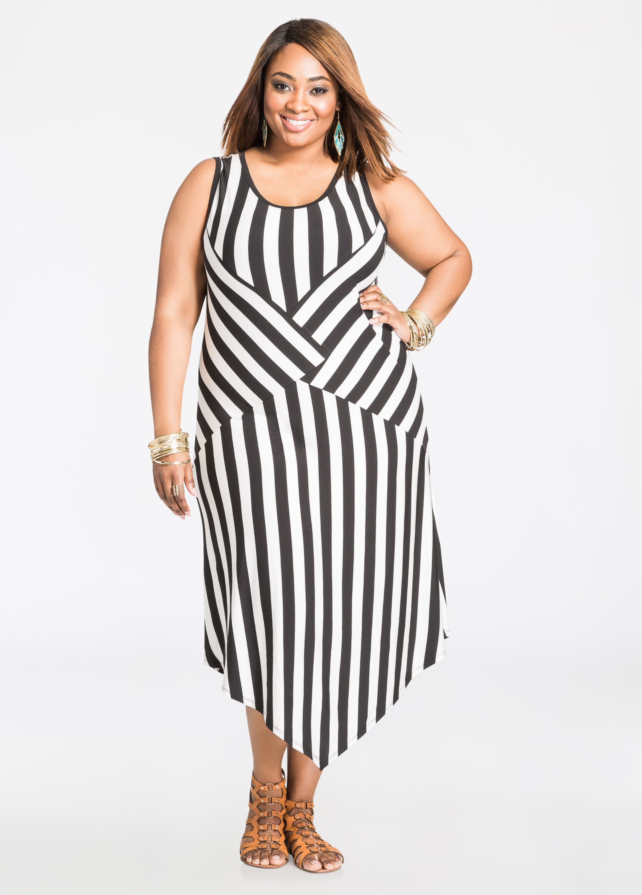 Striped Pointed Hem Dress Black White - Clearance