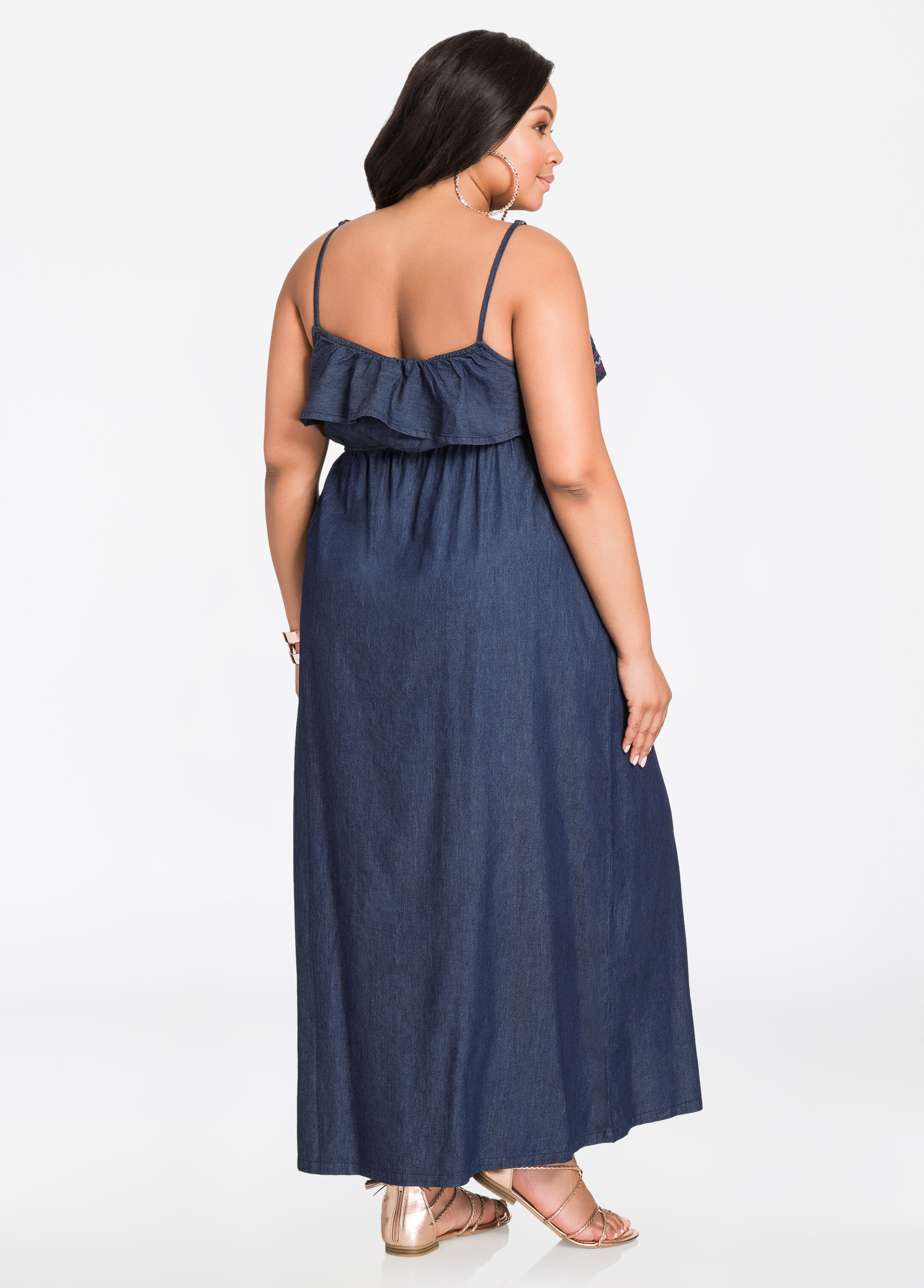 Embroidered Popover Chambray Maxi Dress