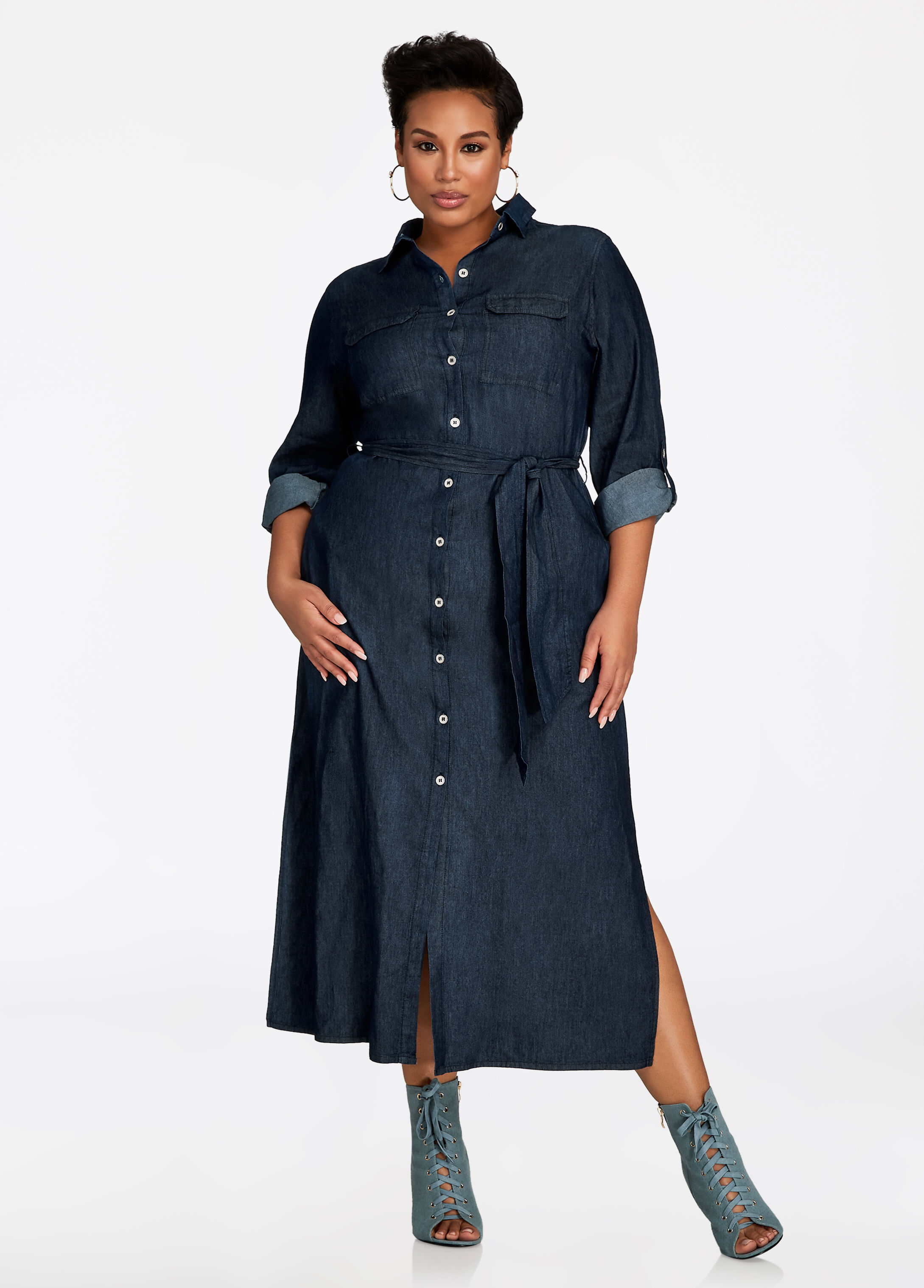 Full Length Denim Button Up Dress