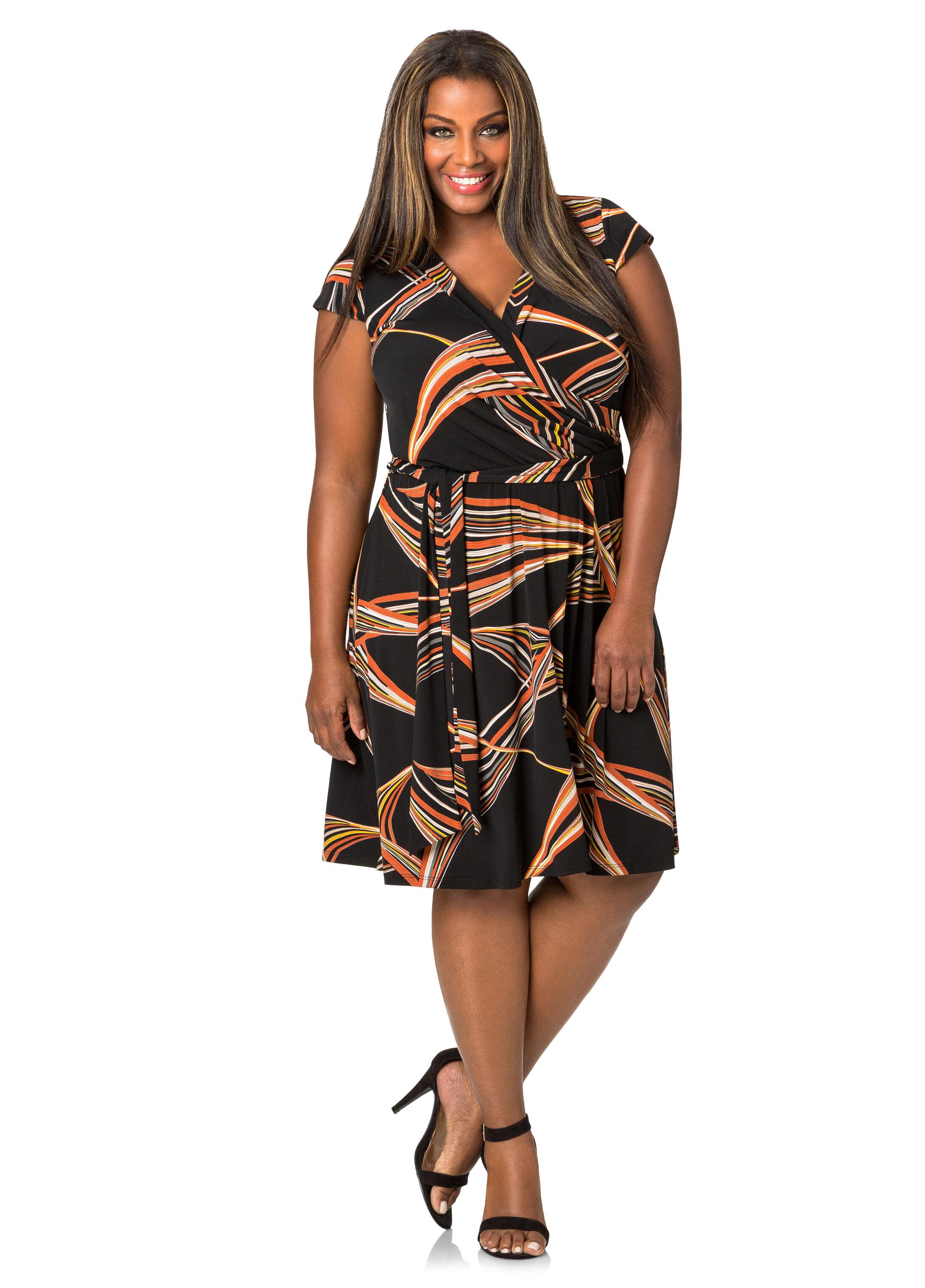 Geo Stripe Wrap Dress
