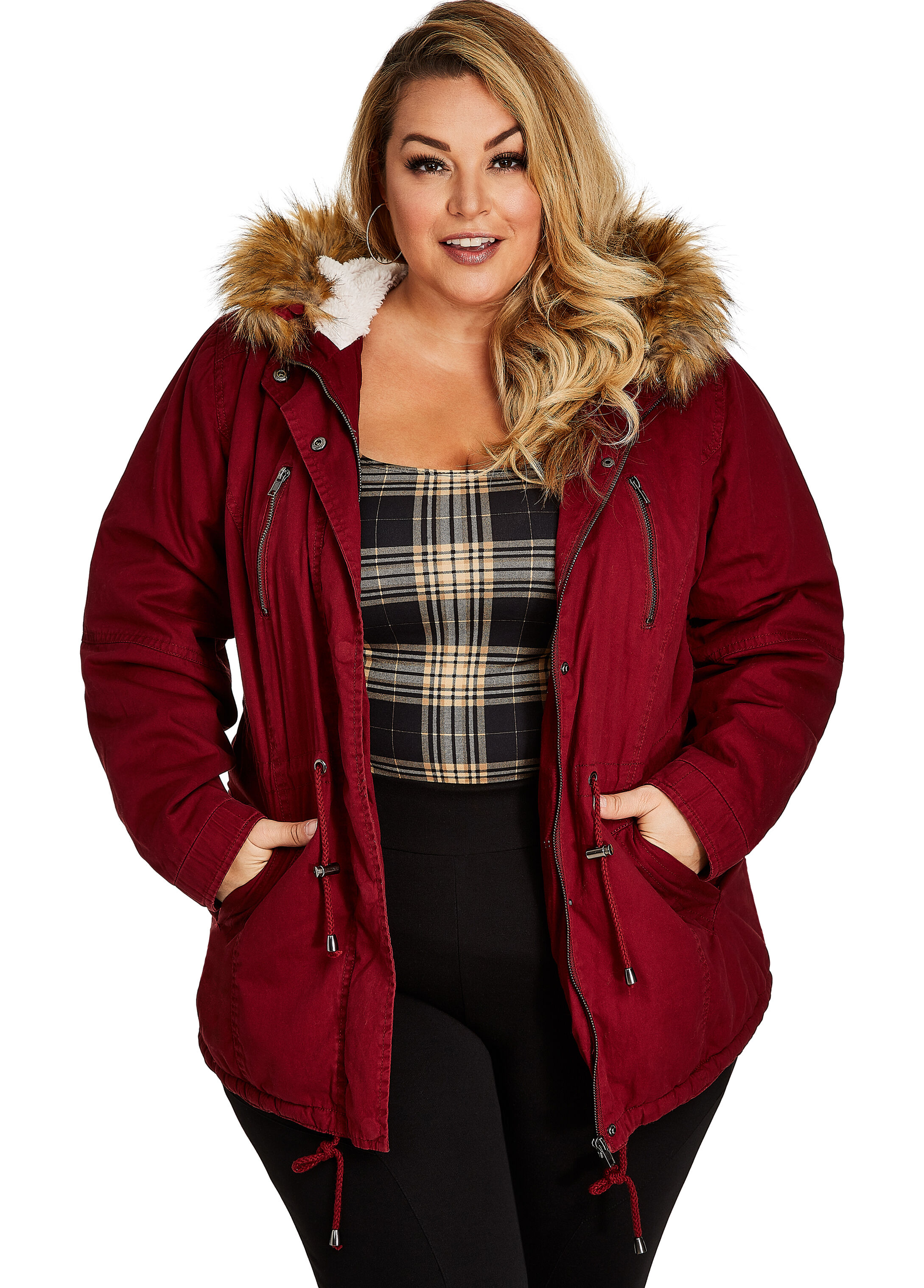 Cotton Twill Anorak with Faux Fur Lining