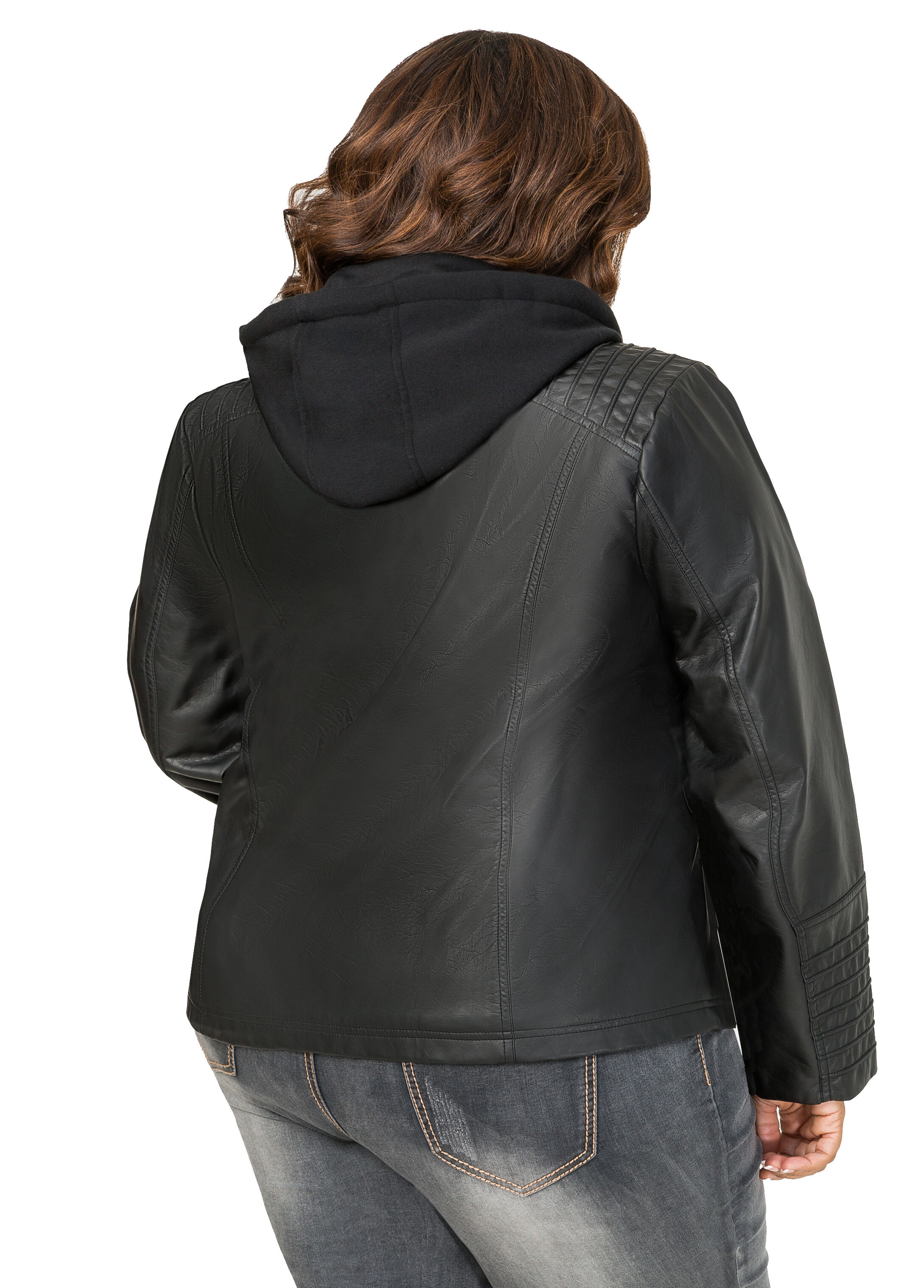 Hoodie Insert Faux Leather Jacket