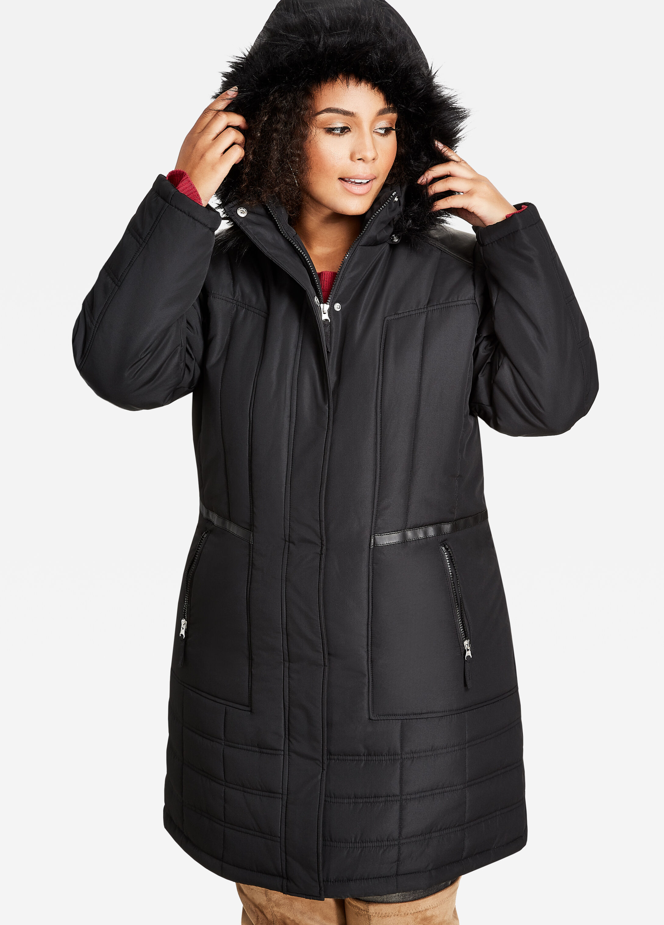 Long Puffer Jacket with Faux Leather Trim