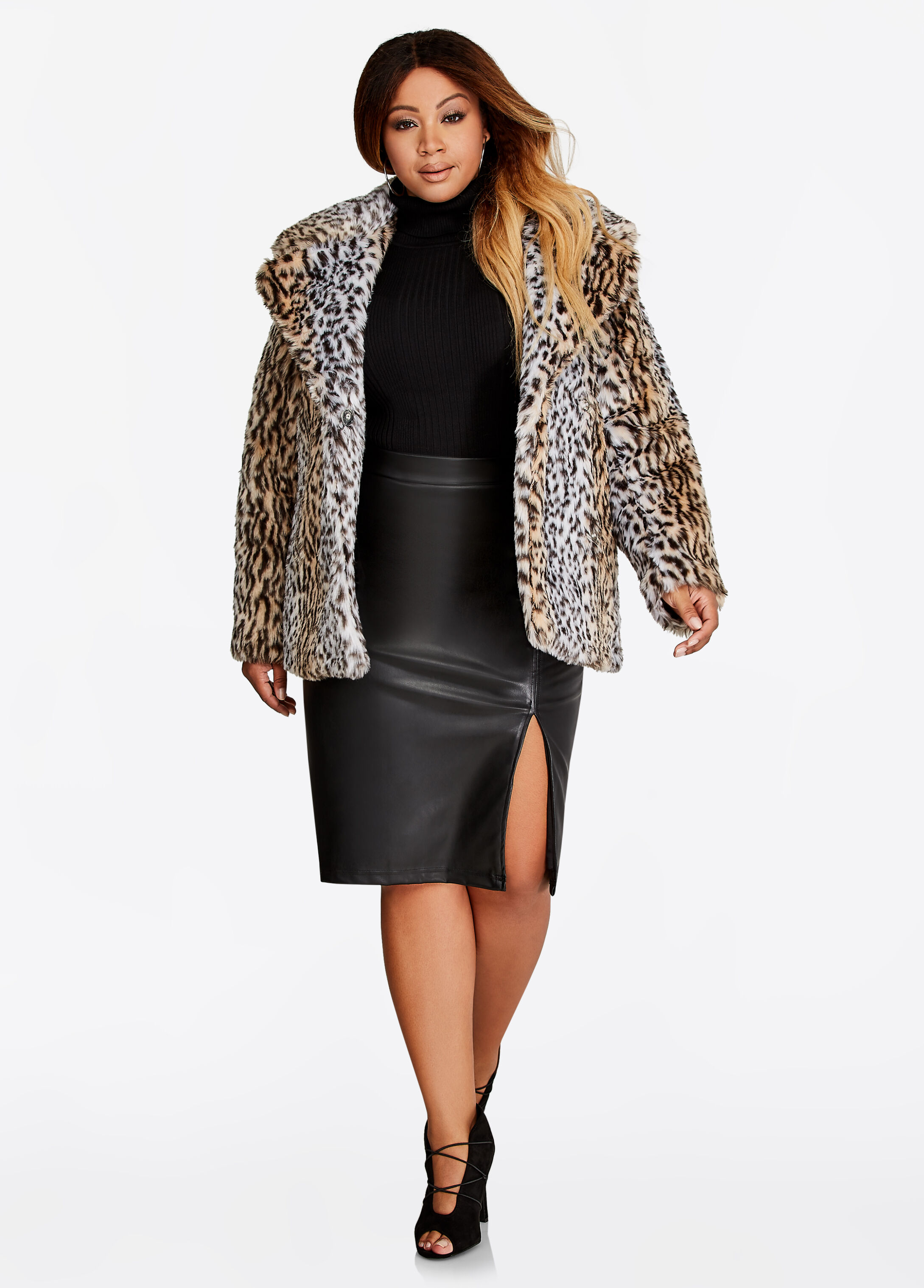 Faux Cheetah Fur Coat