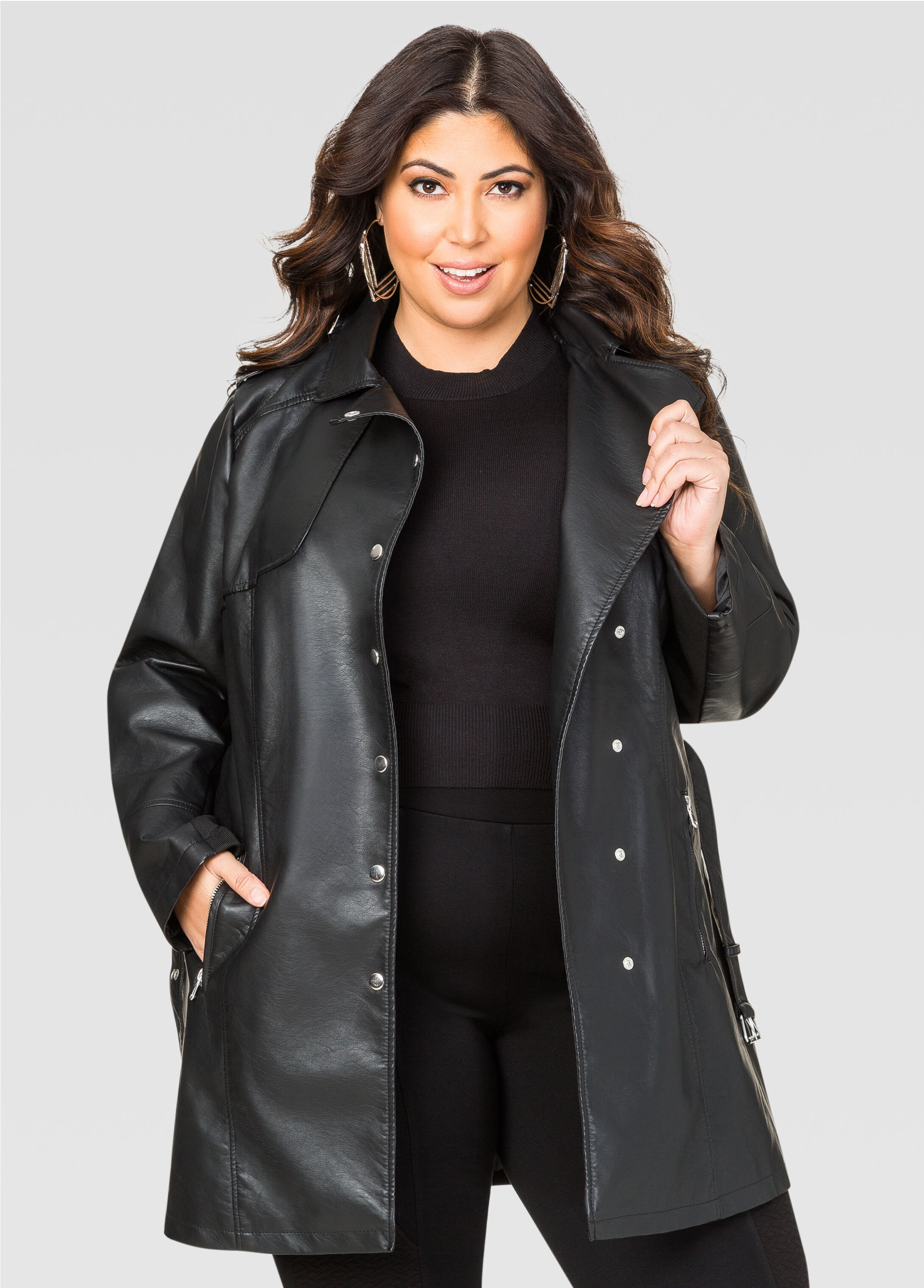 Faux Leather Moto Trench Coat