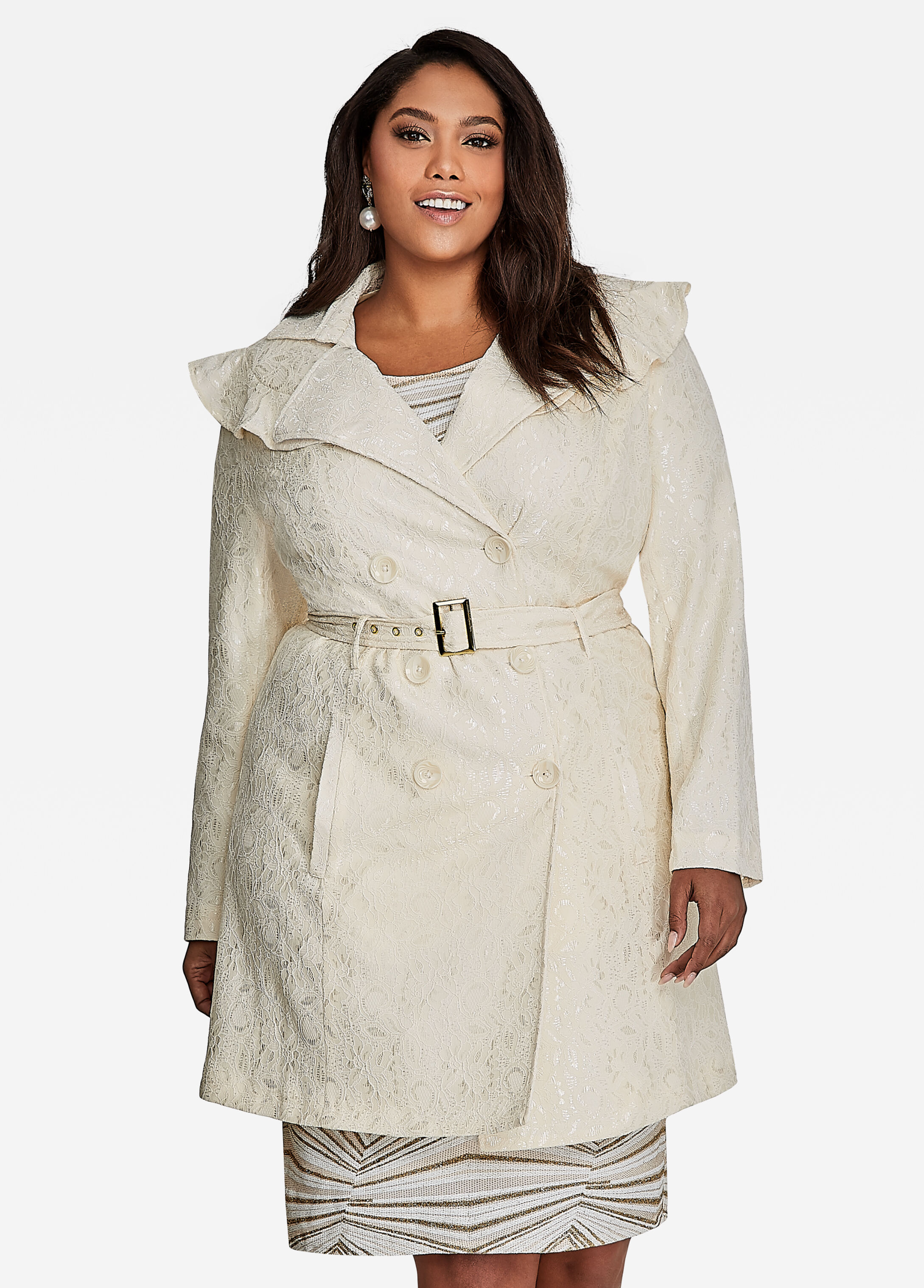 Lace Belted Trench Coat