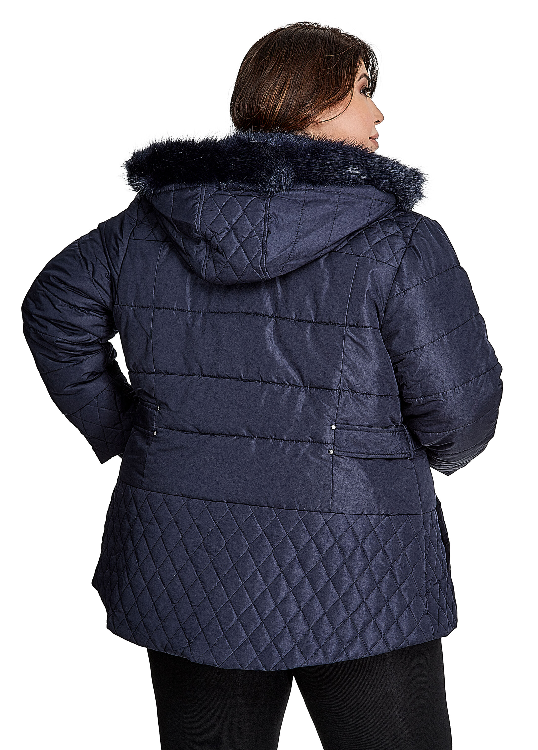 Faux Fur Hooded Diamond Quilted Jacket