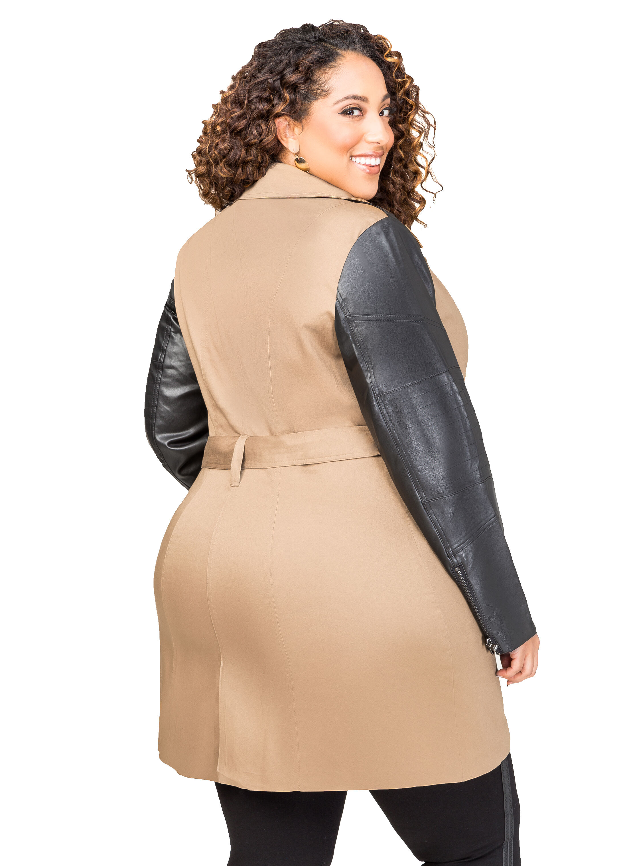 Belted Faux Leather Sleeve Trench Coat