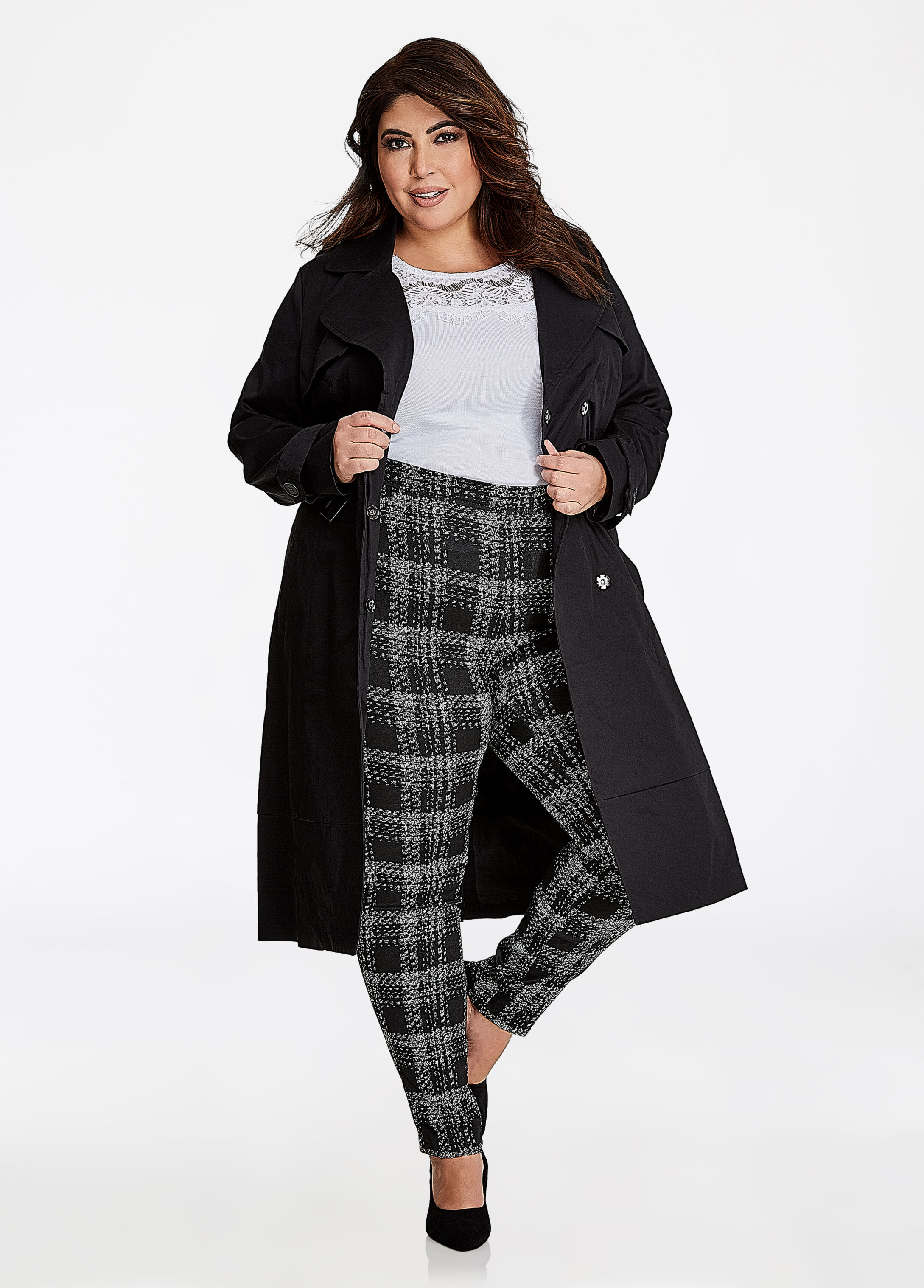 Notch Collar Belted Trench Coat