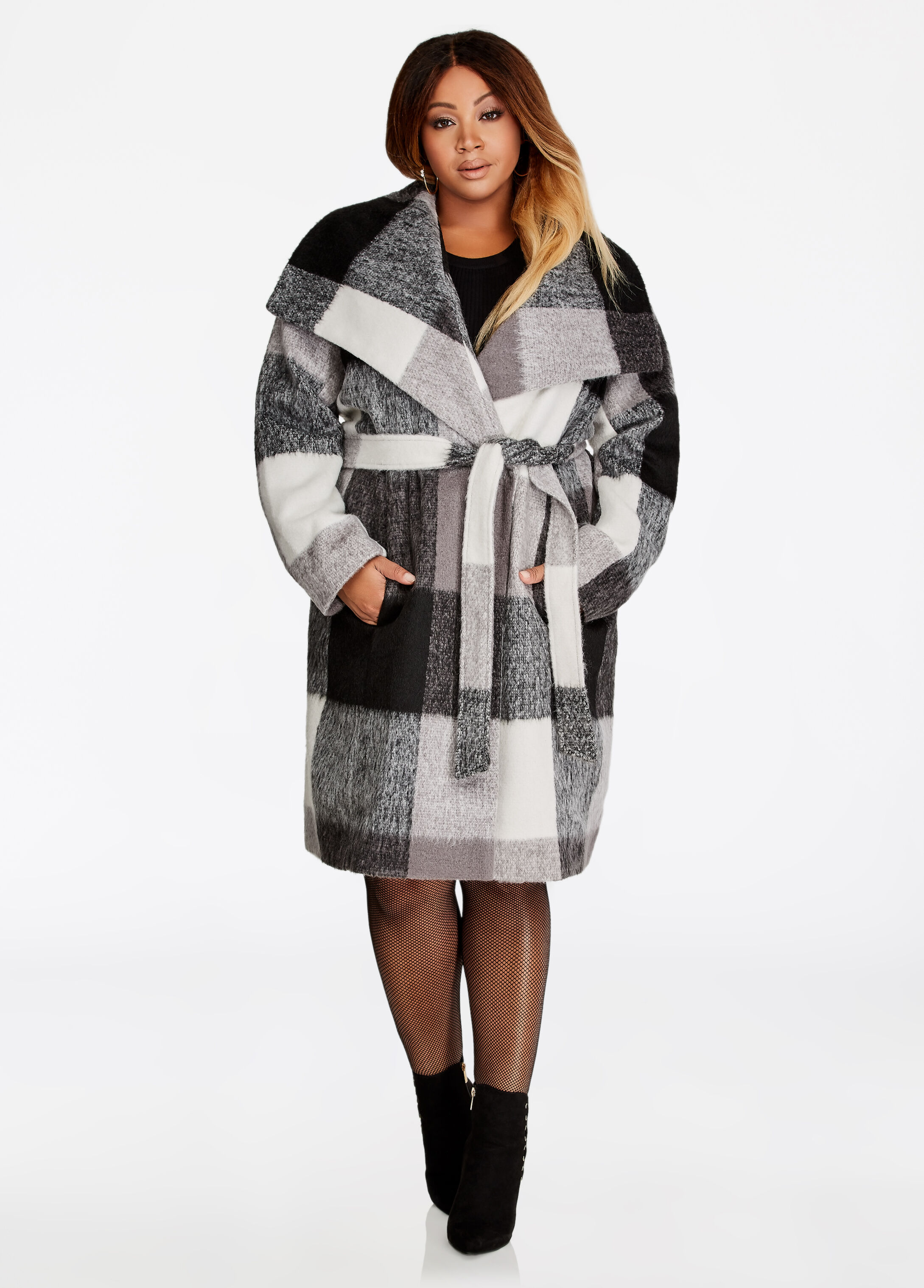 Plaid Wool Double Breasted Coat
