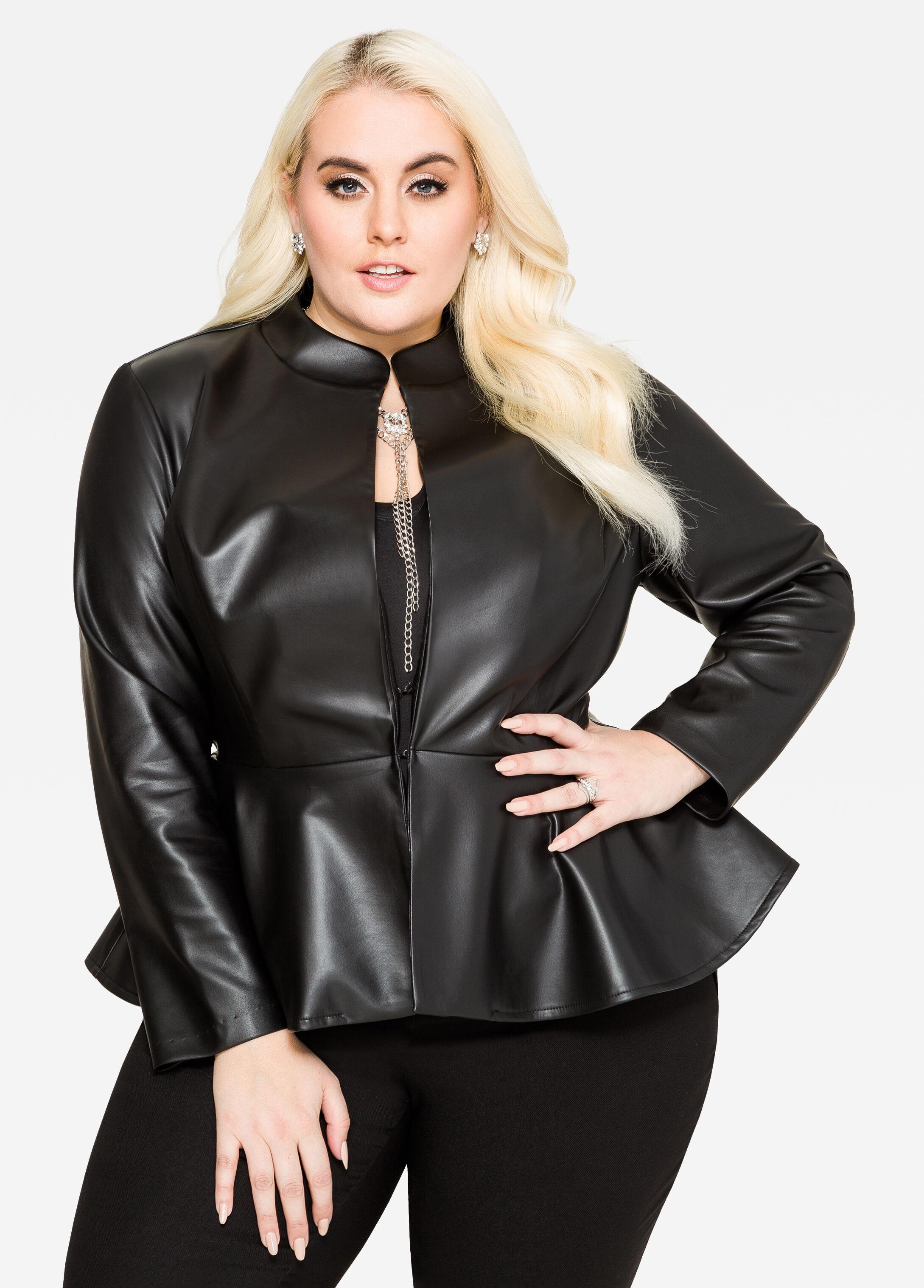 Peplum faux leather jacket
