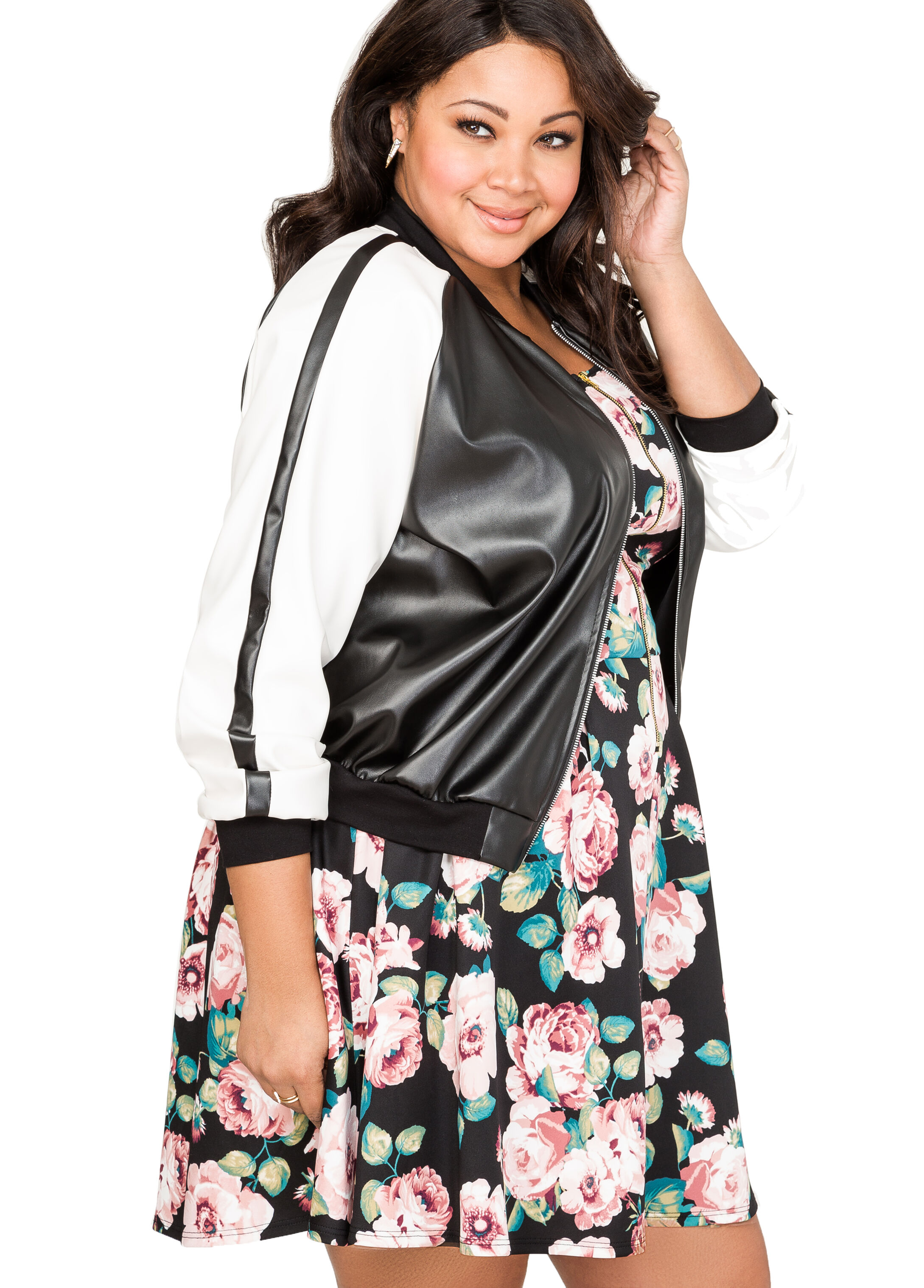 Two-Tone Faux Leather Bomber Jacket