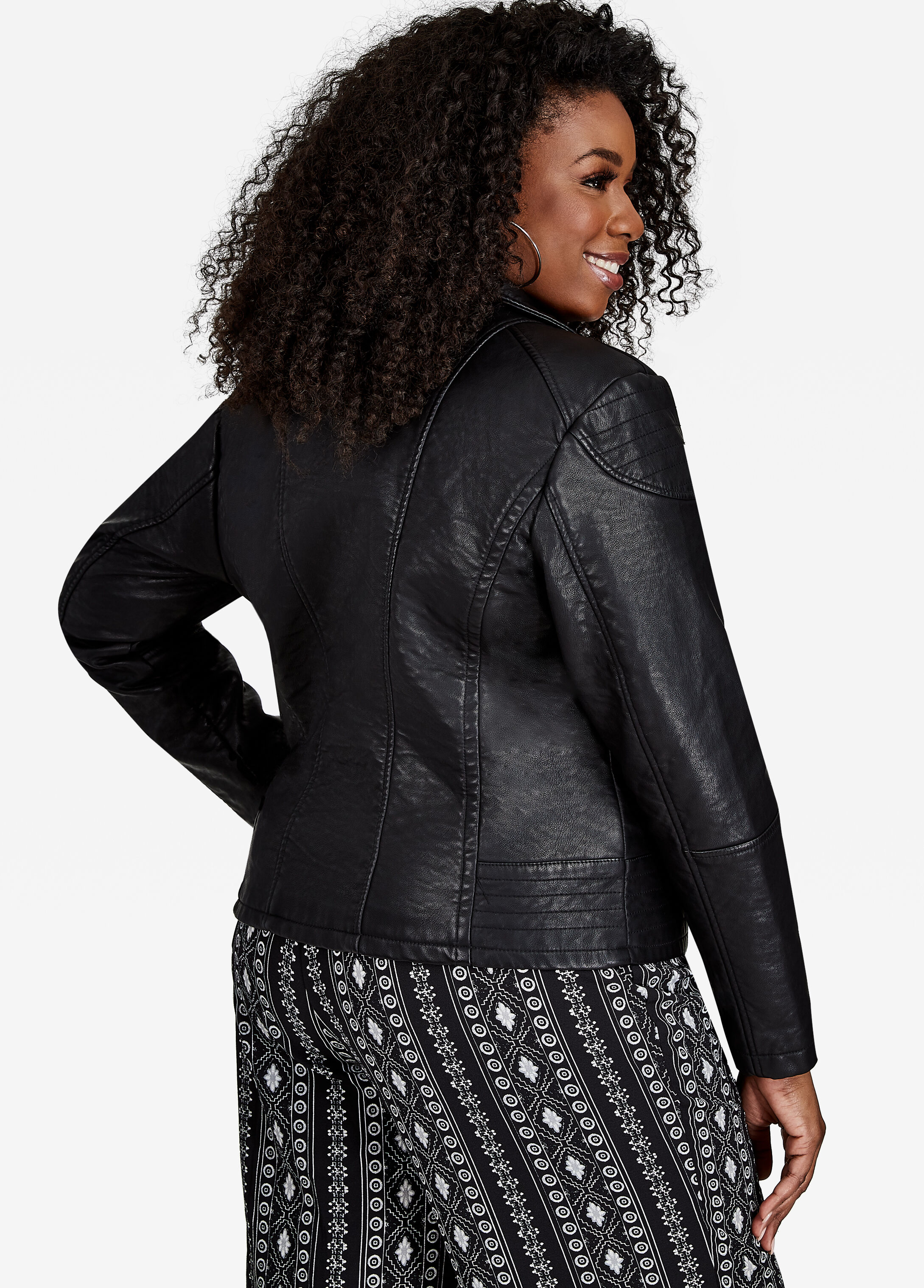 Textured Faux Leather Moto Jacket