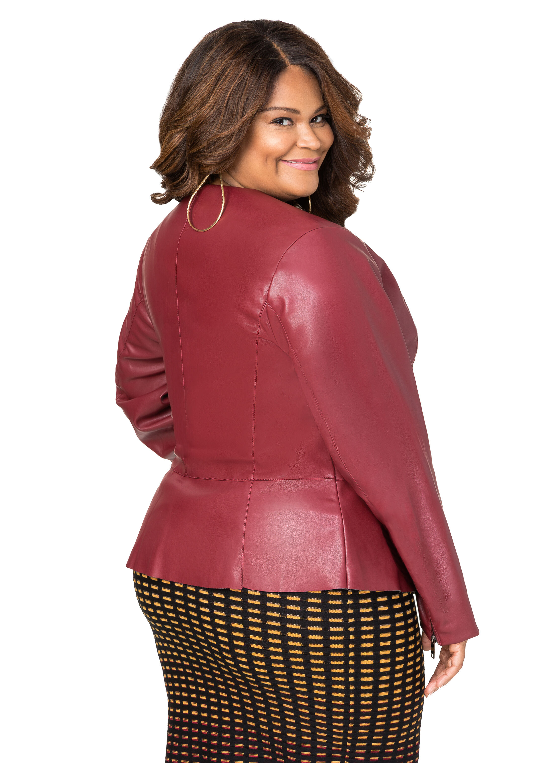 Seamed Faux Leather Peplum Jacket