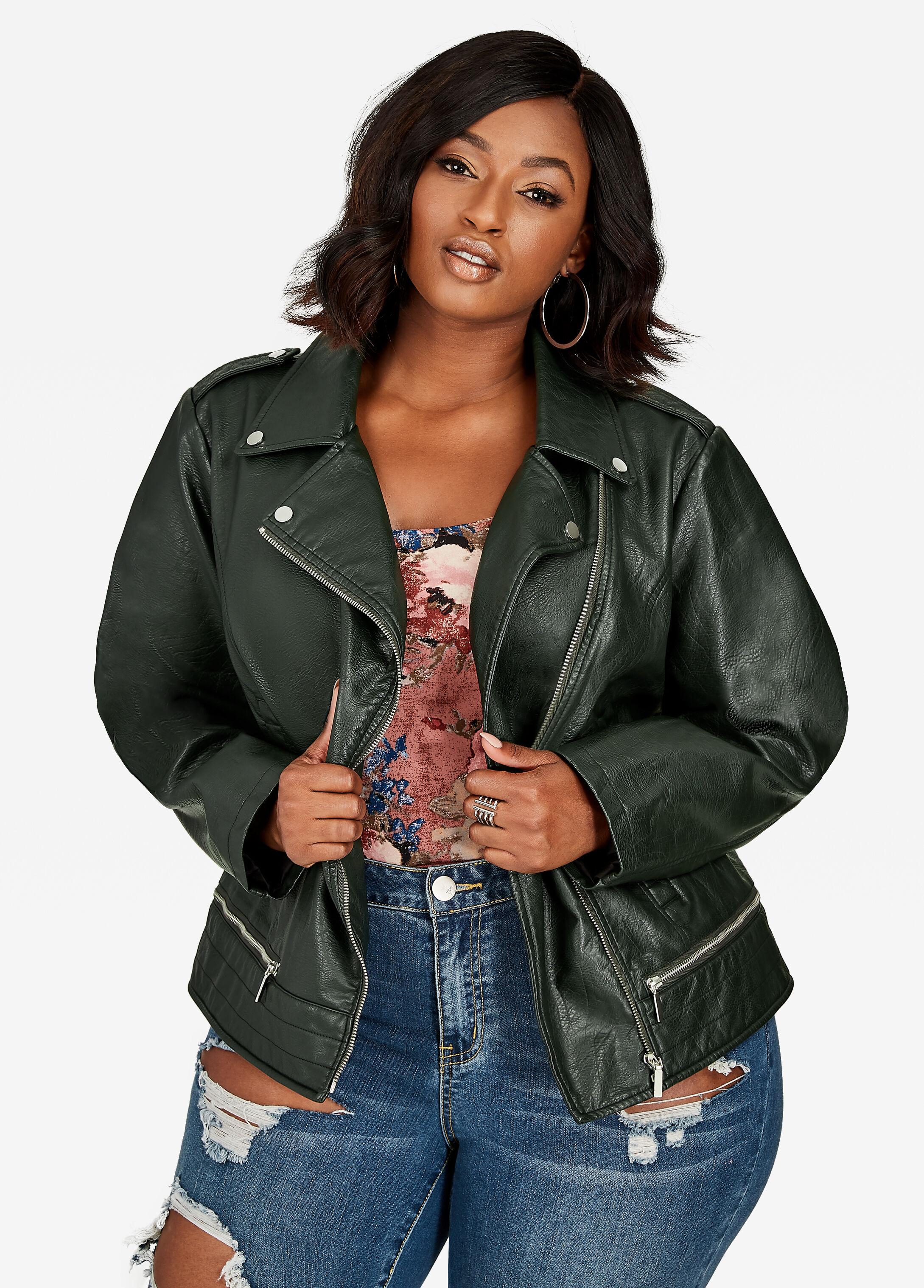 Zip Trim Buffalo Faux Leather Moto Jacket