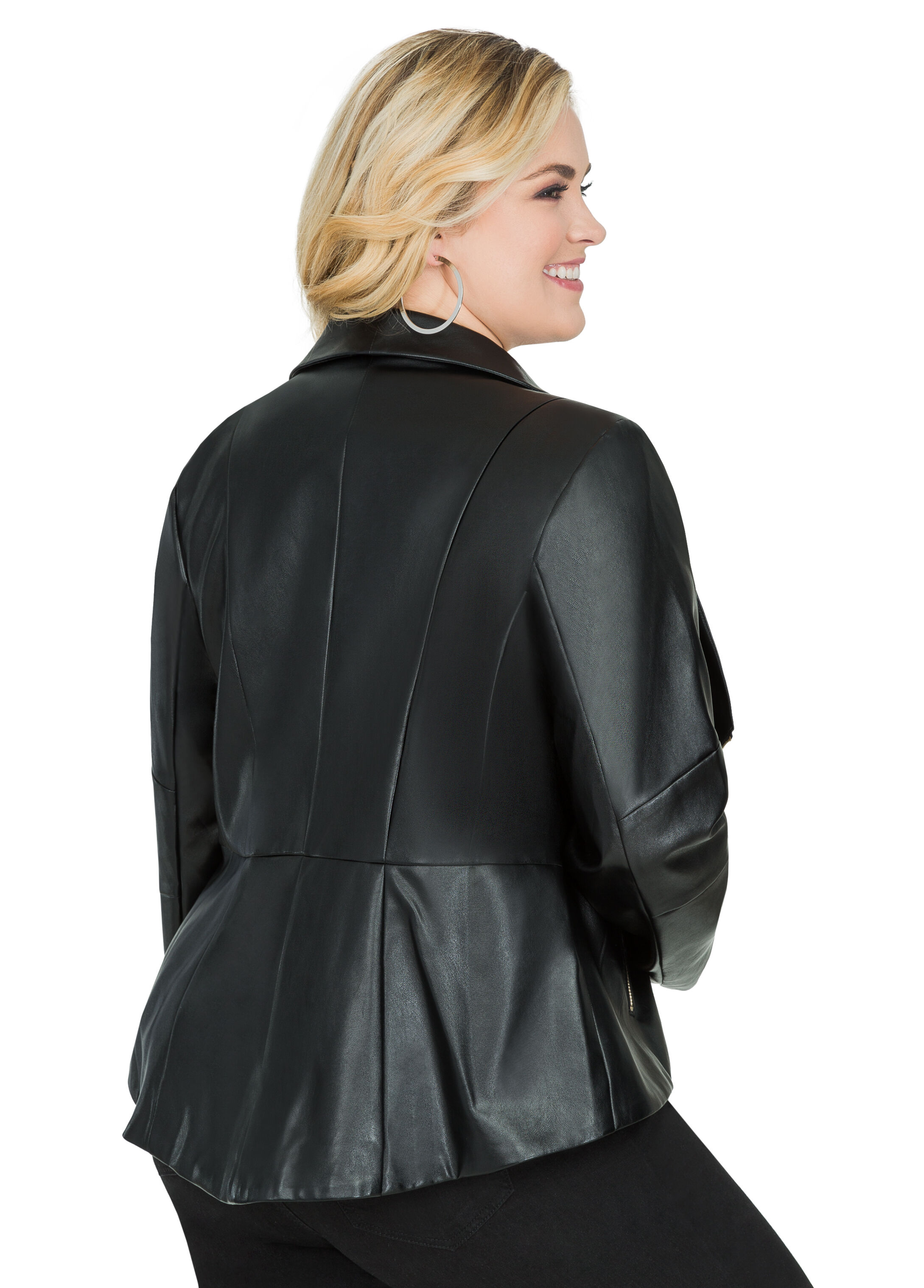Faux Leather Hi-Low Moto Jacket
