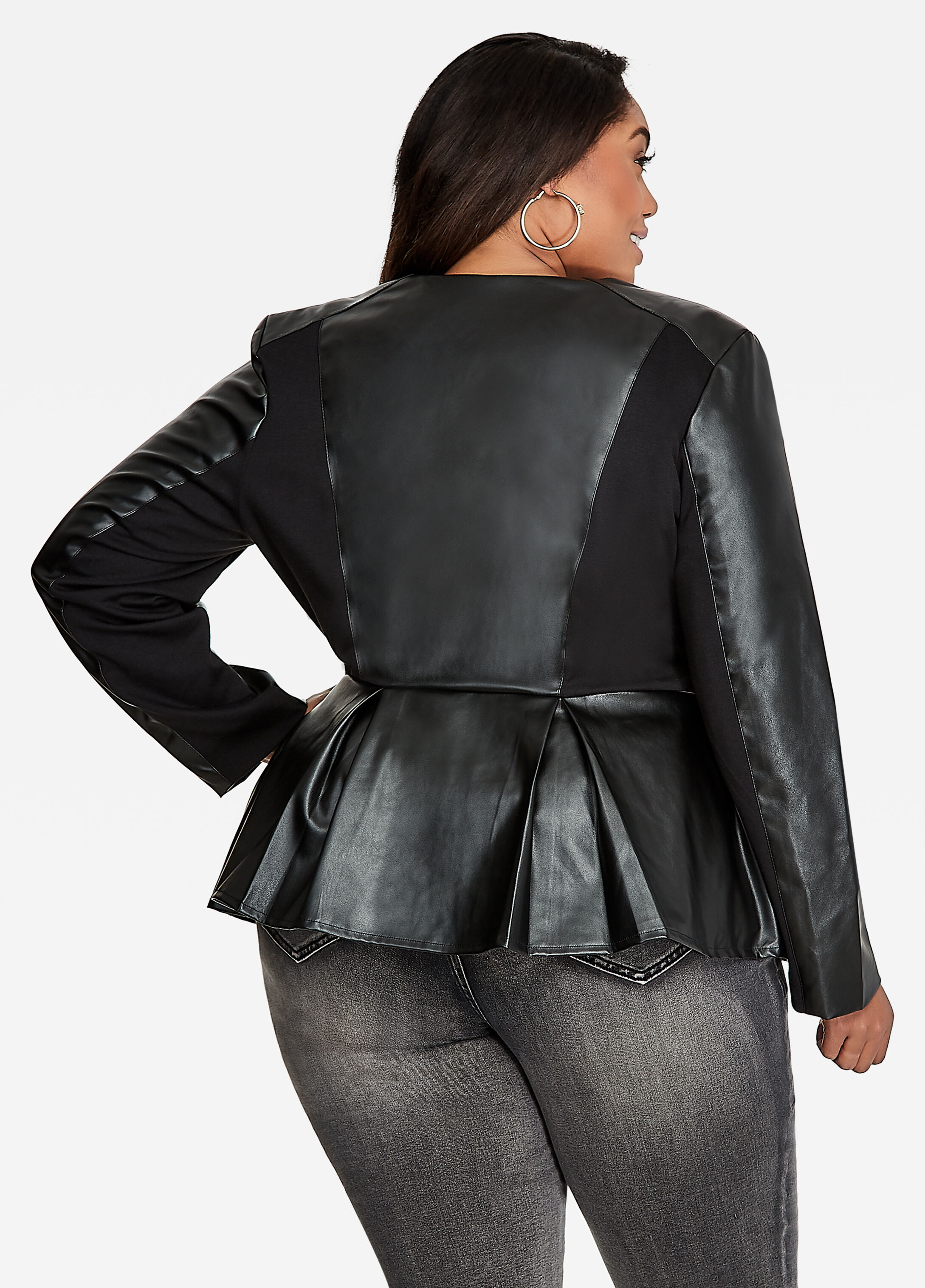 Ponte Leather Combo Peplum Jacket