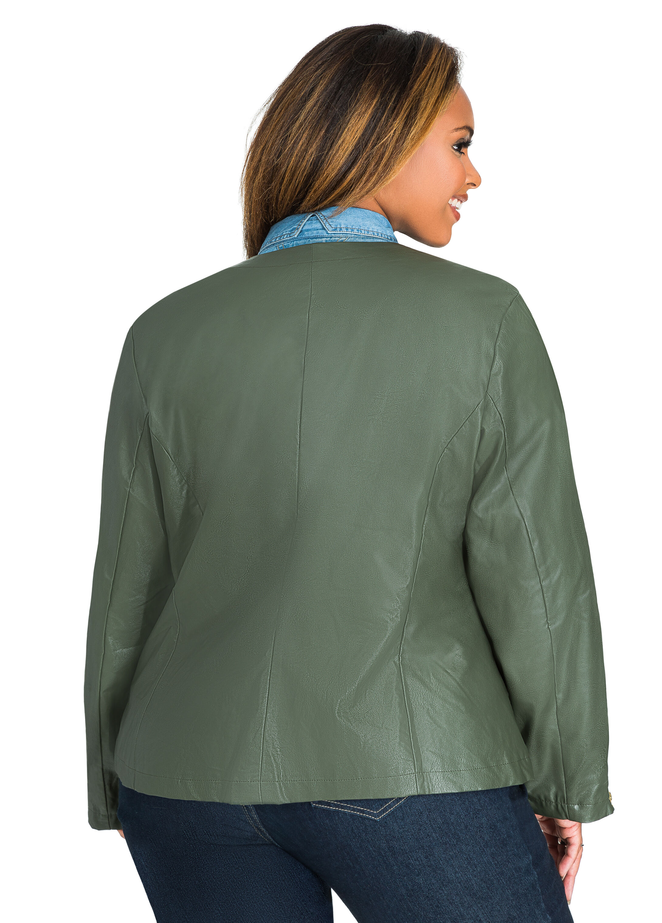 Faux Leather Zip Front Jacket