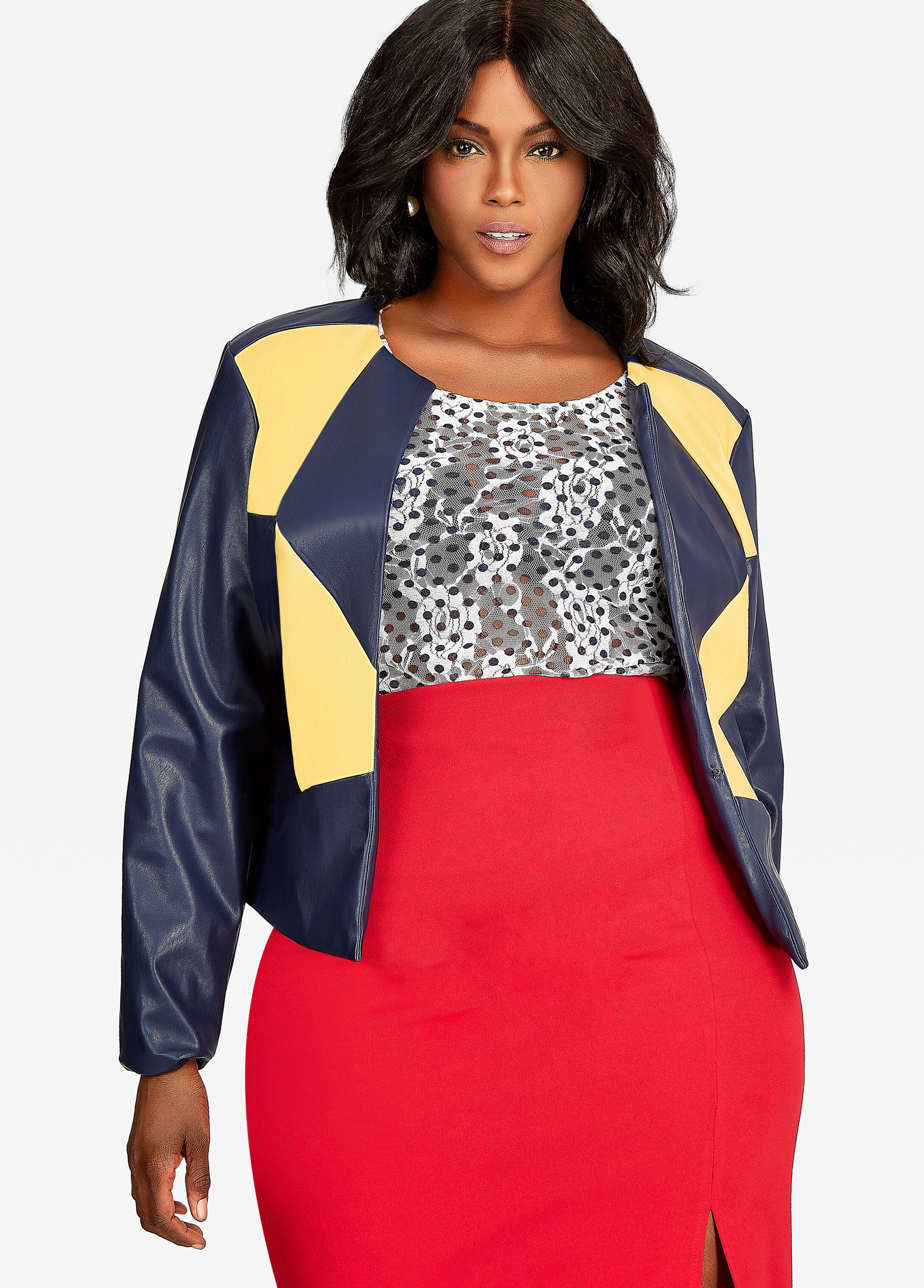 Colorblock Pleather Jacket