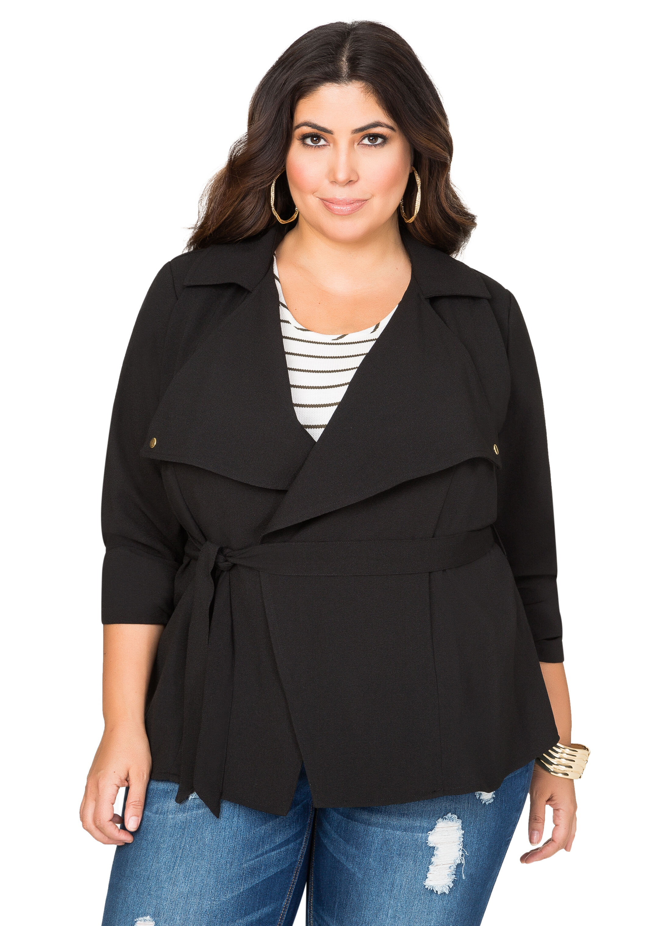 Crepe Wrap Trench Jacket