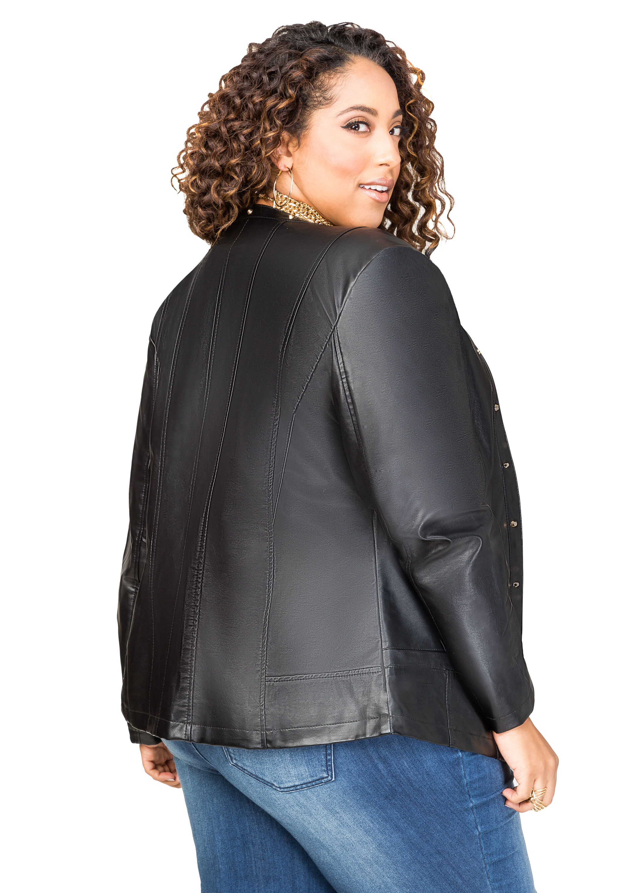 Stud Detail Faux Leather Jacket