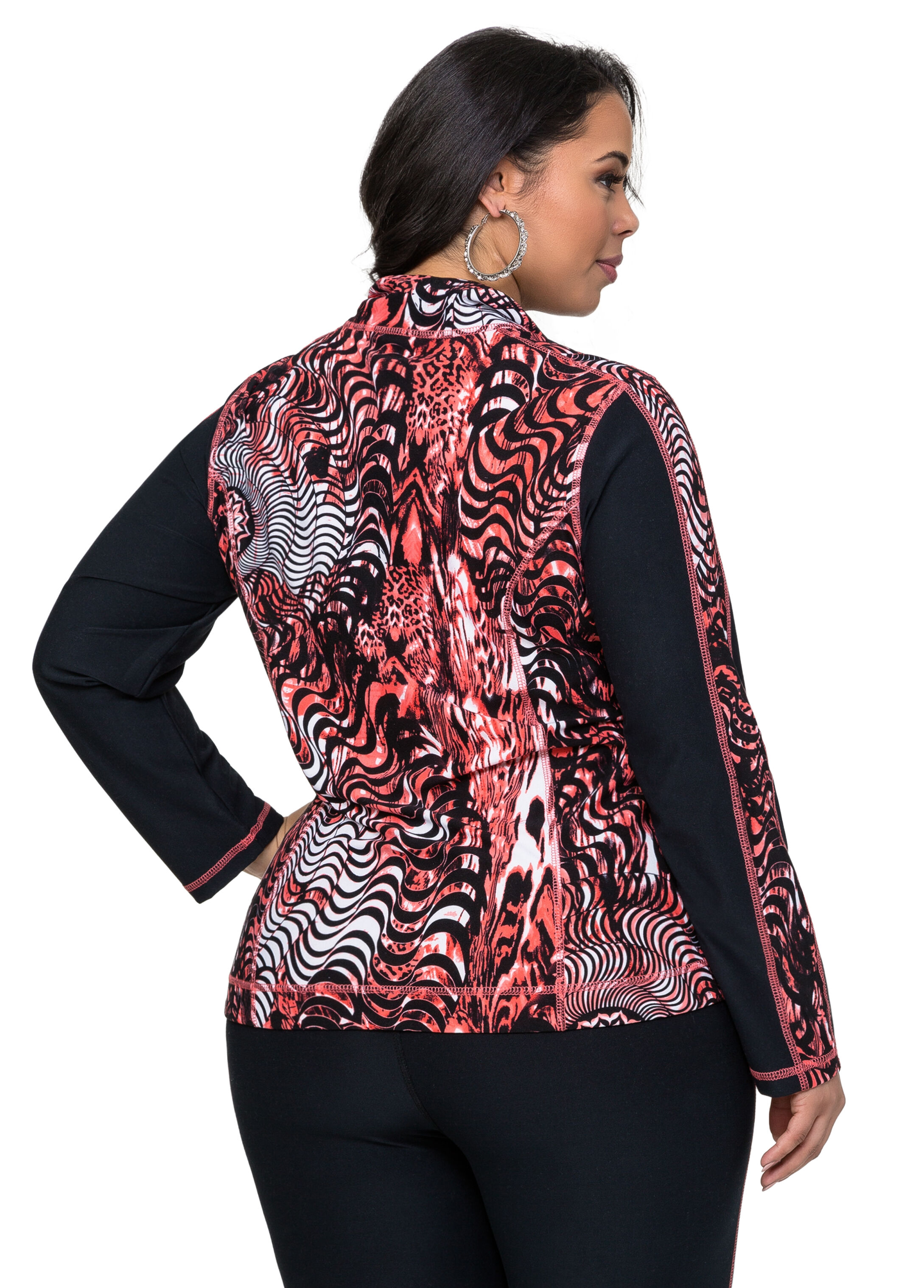Coral Abstract Active Jacket