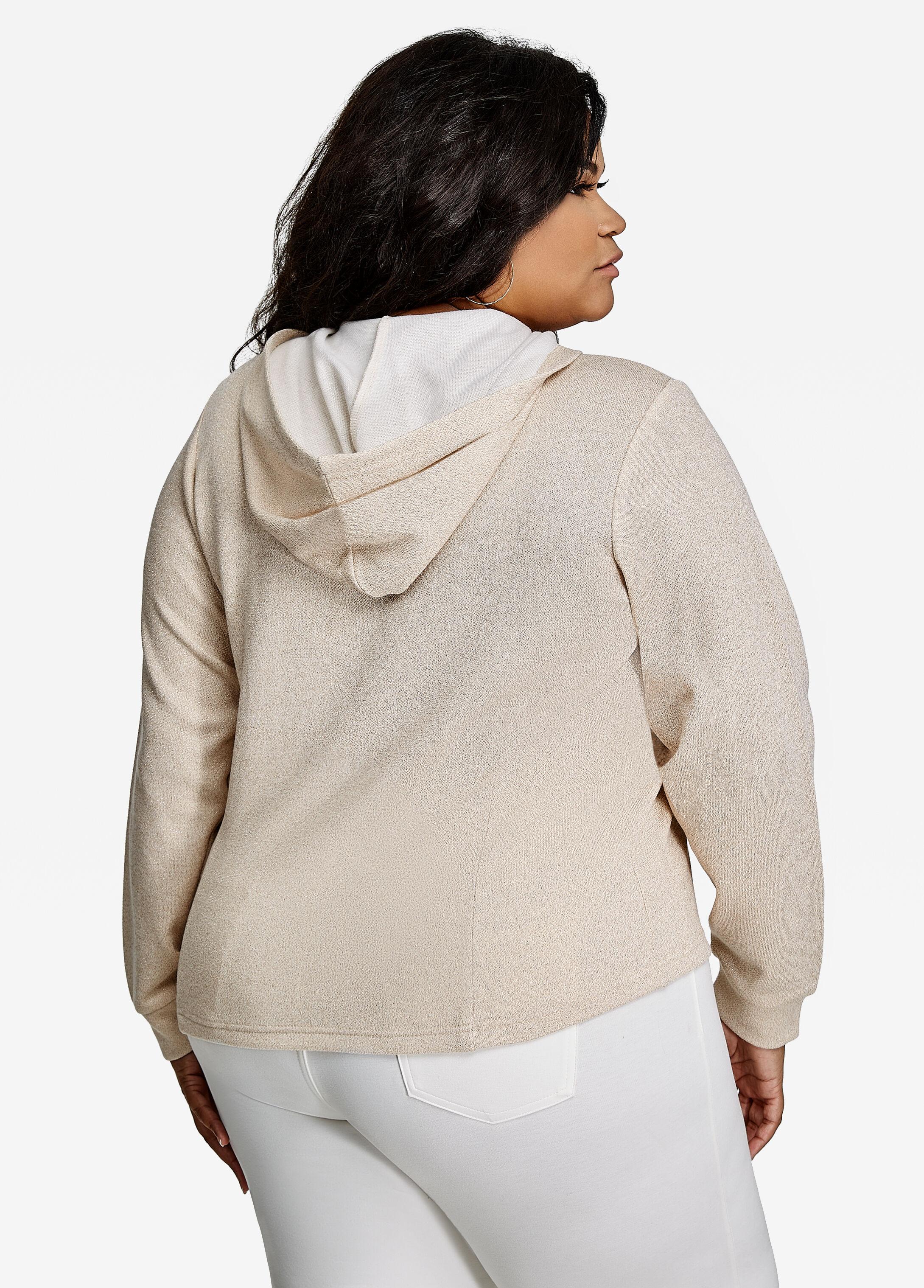 Lace Up Metallic Sweatshirt