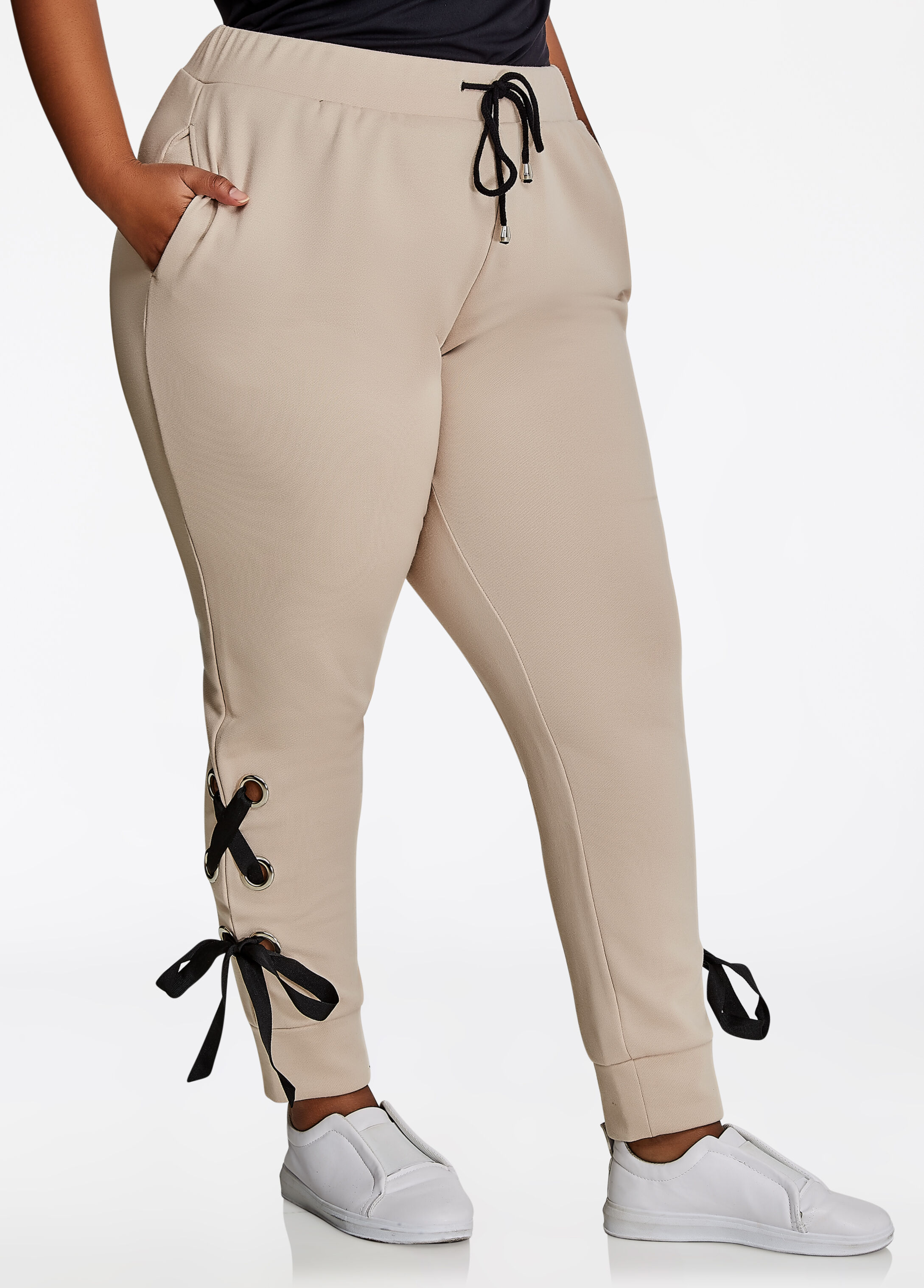 Grommet Lace Up Jogger