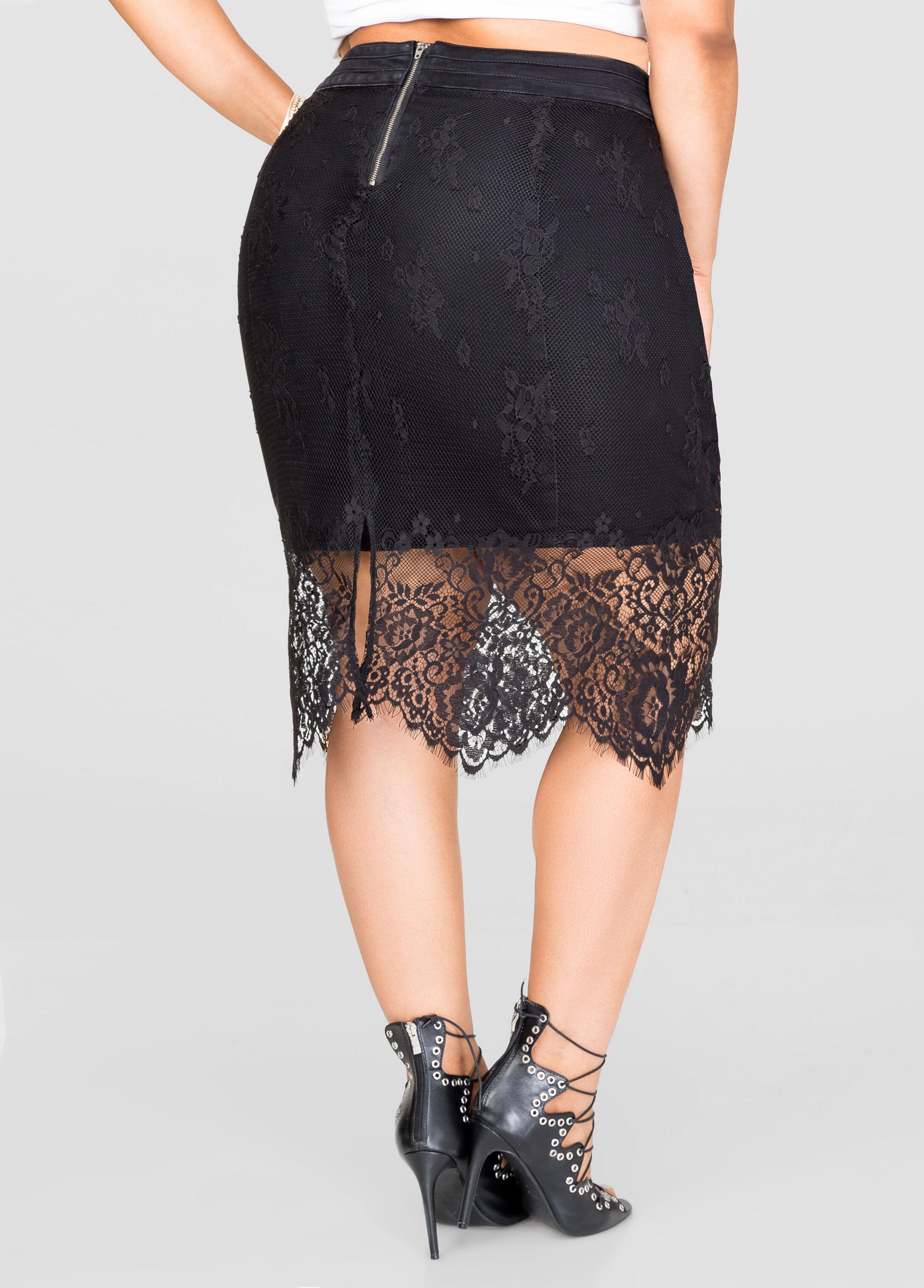 Lace Overlay Denim Skirt