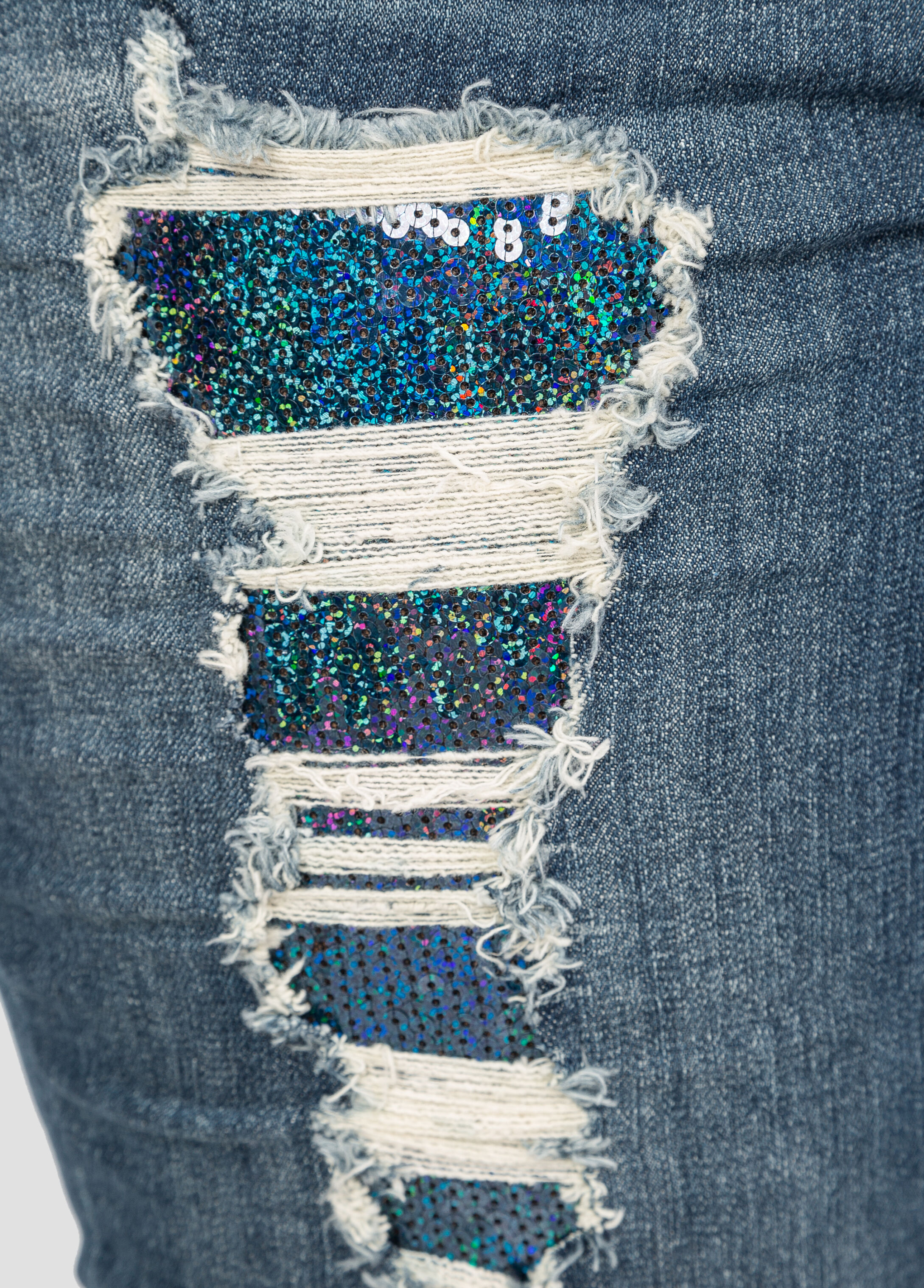 Sequin Destructed Skinny Jean