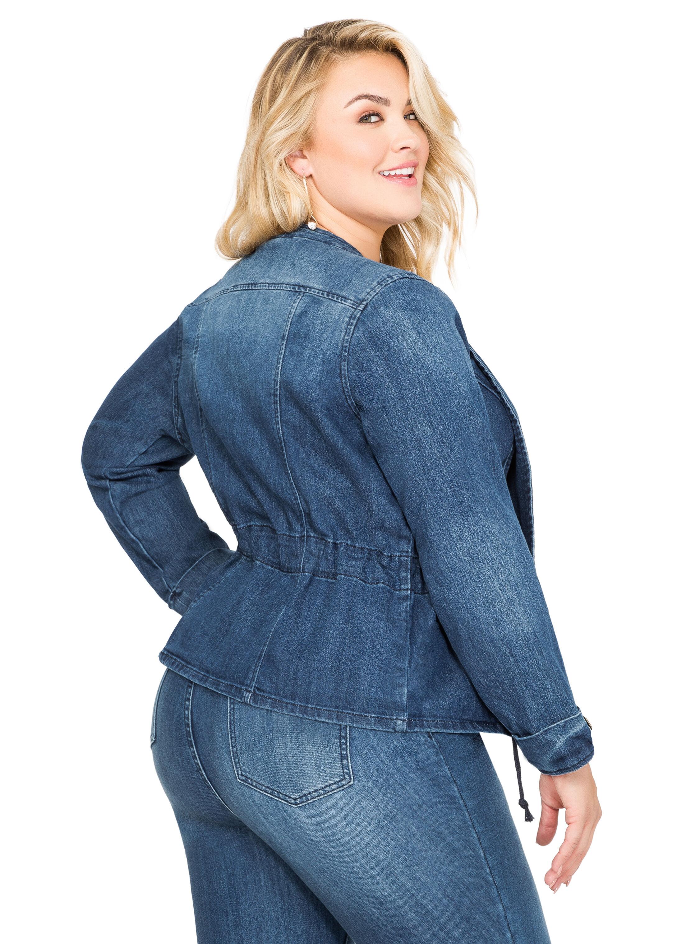 Drawstring Waist Open Jean Jacket