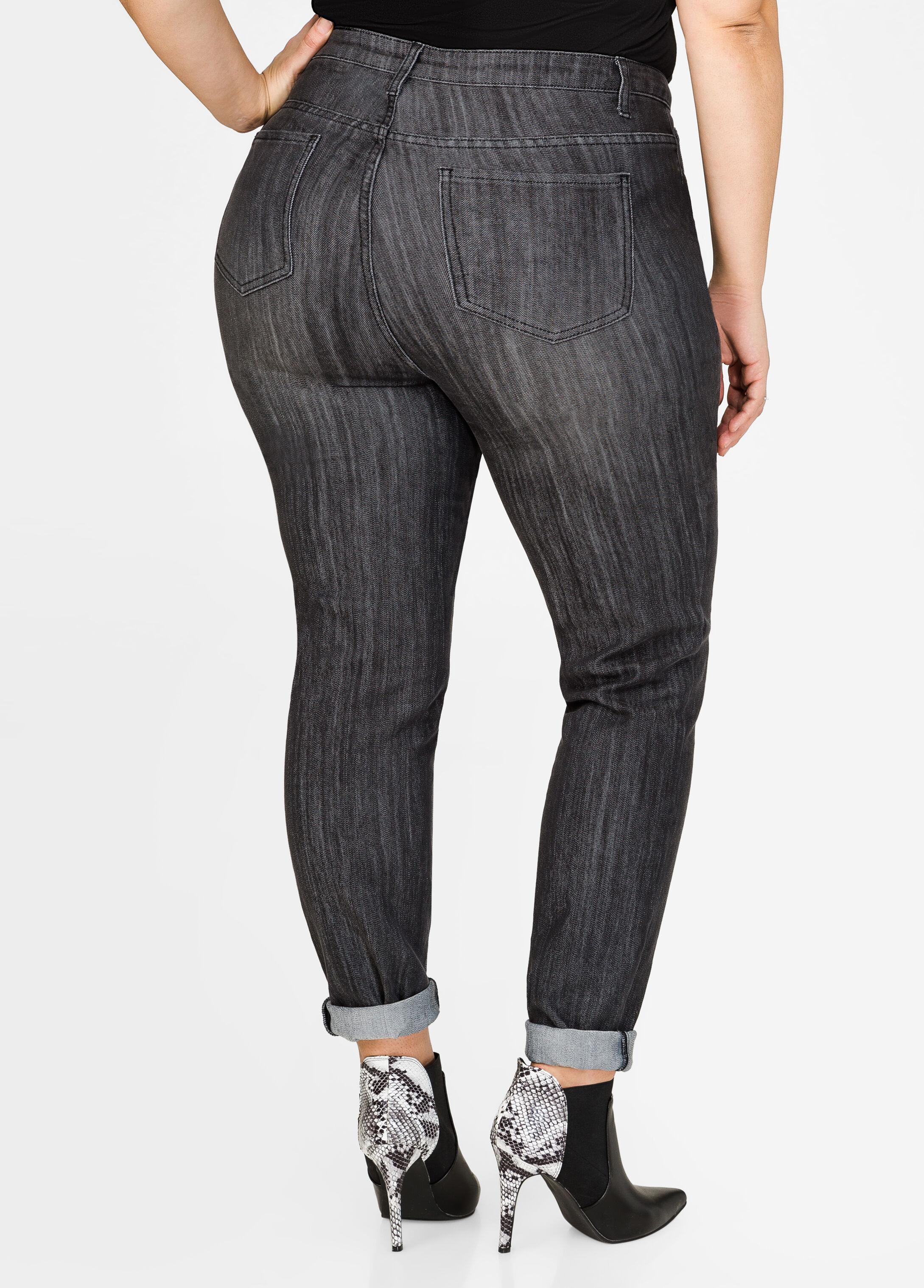 Top Stitch Cuffed Skinny Jean