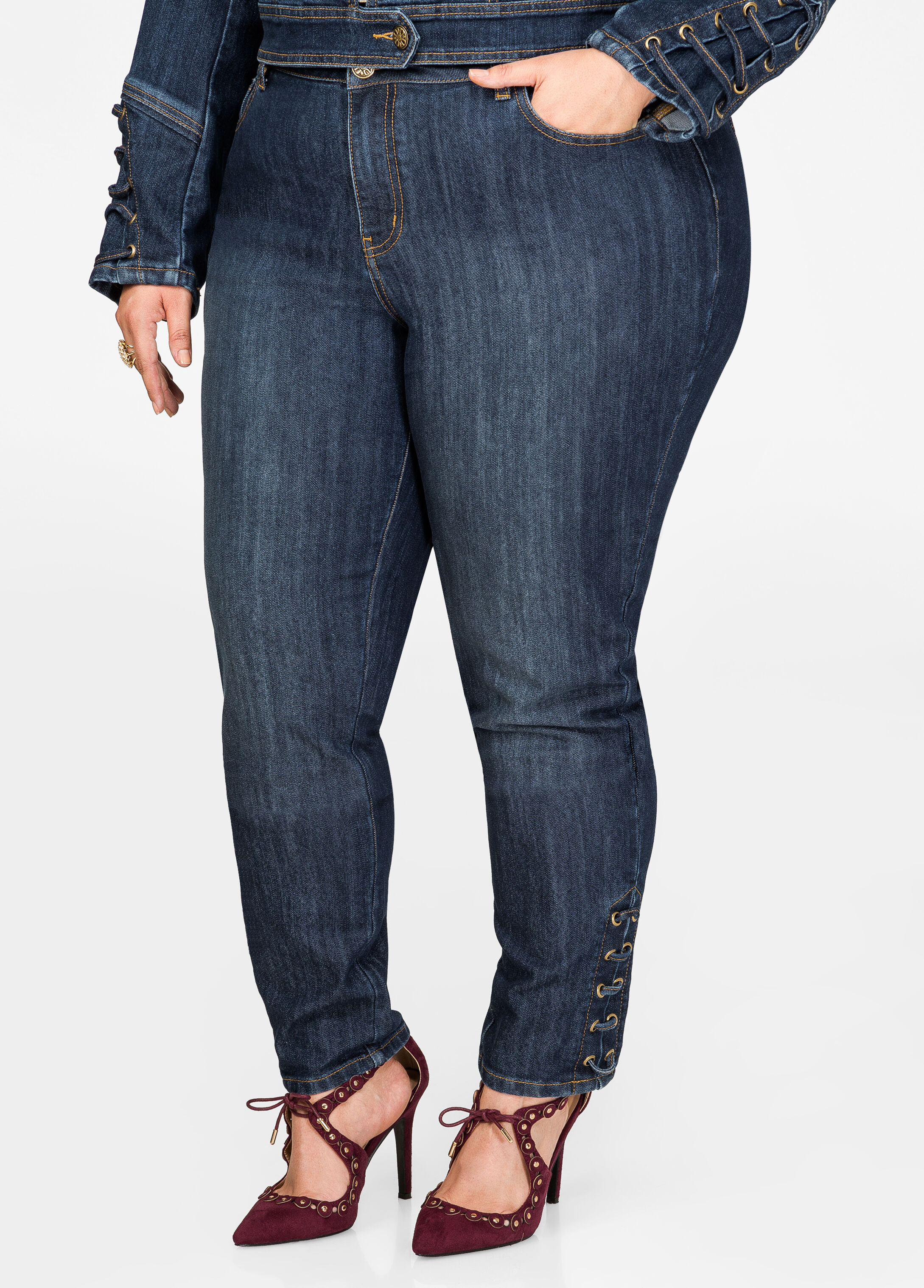 Lace-Up Detail Skinny Jean