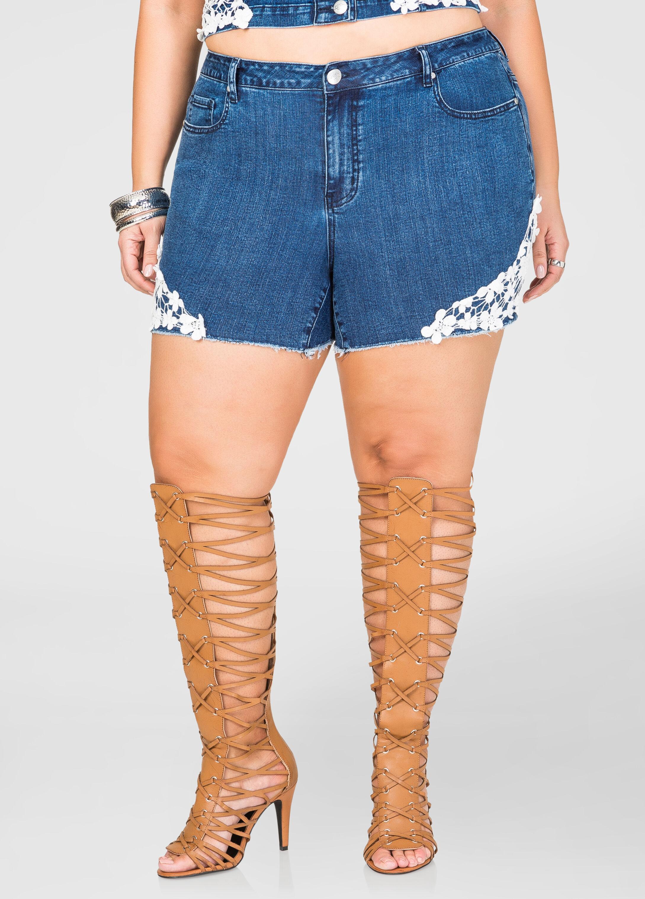 Floral Lace Jean Shorts