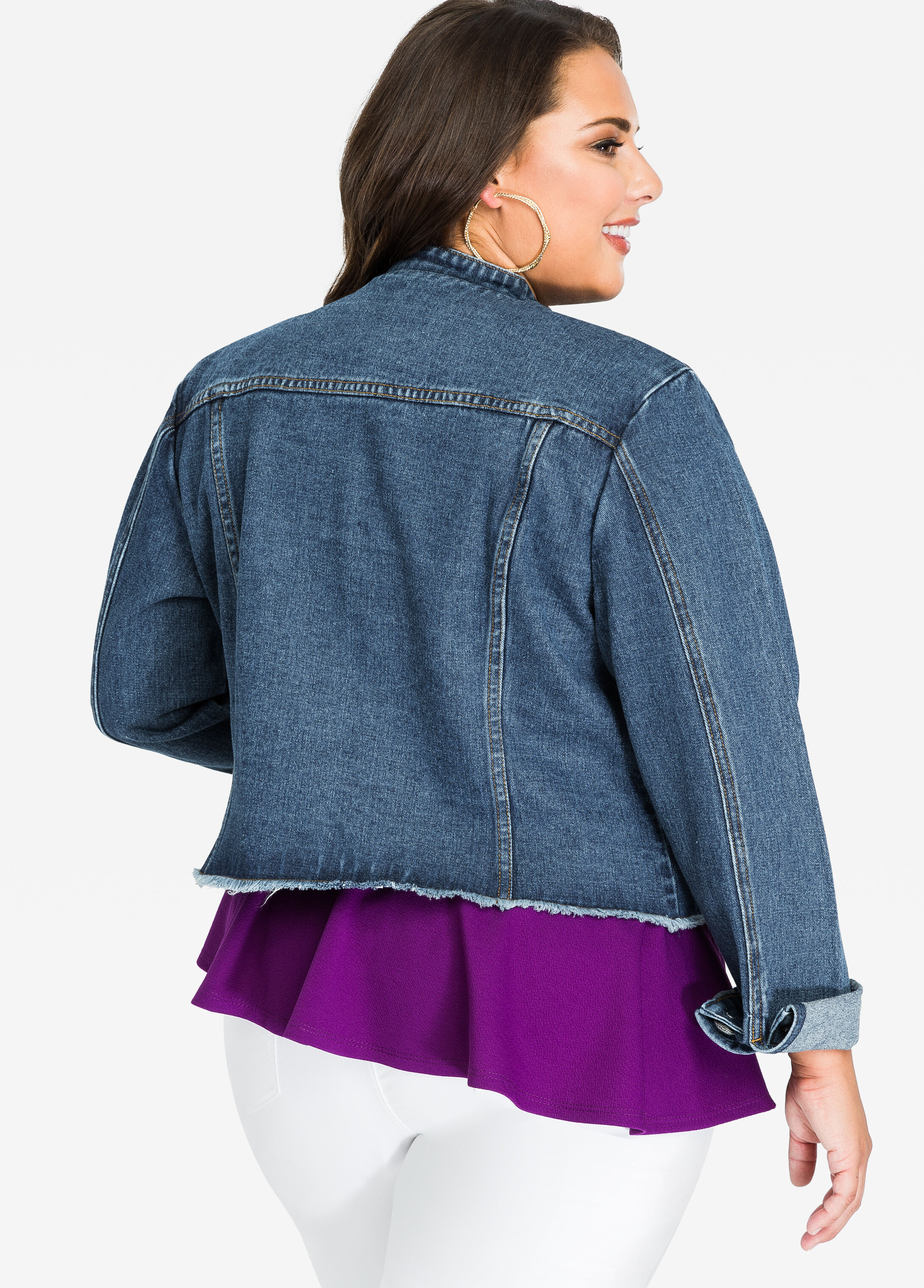 Long Sleeve Mandarin Collar Jean Jacket