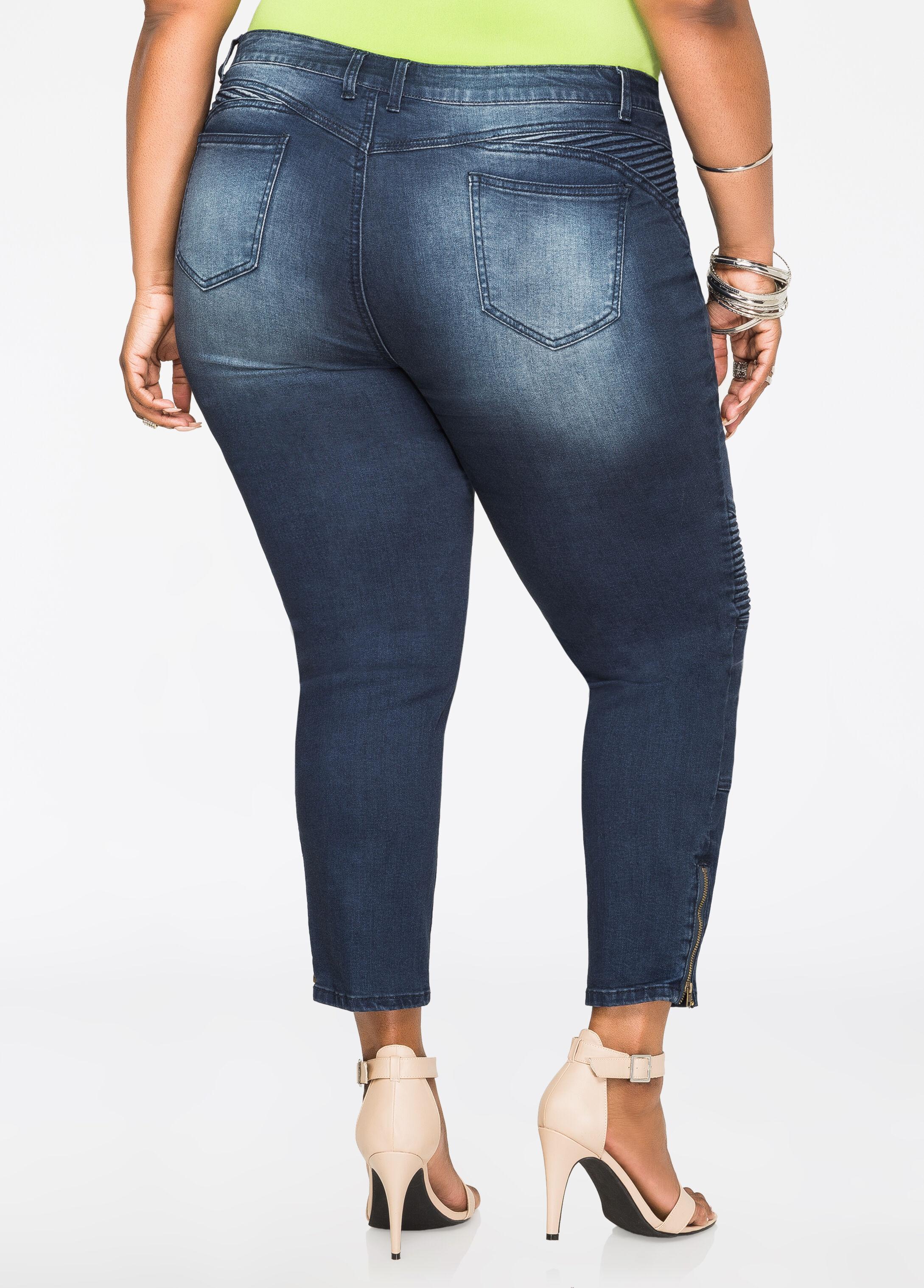 Moto Zip Ankle Jeans