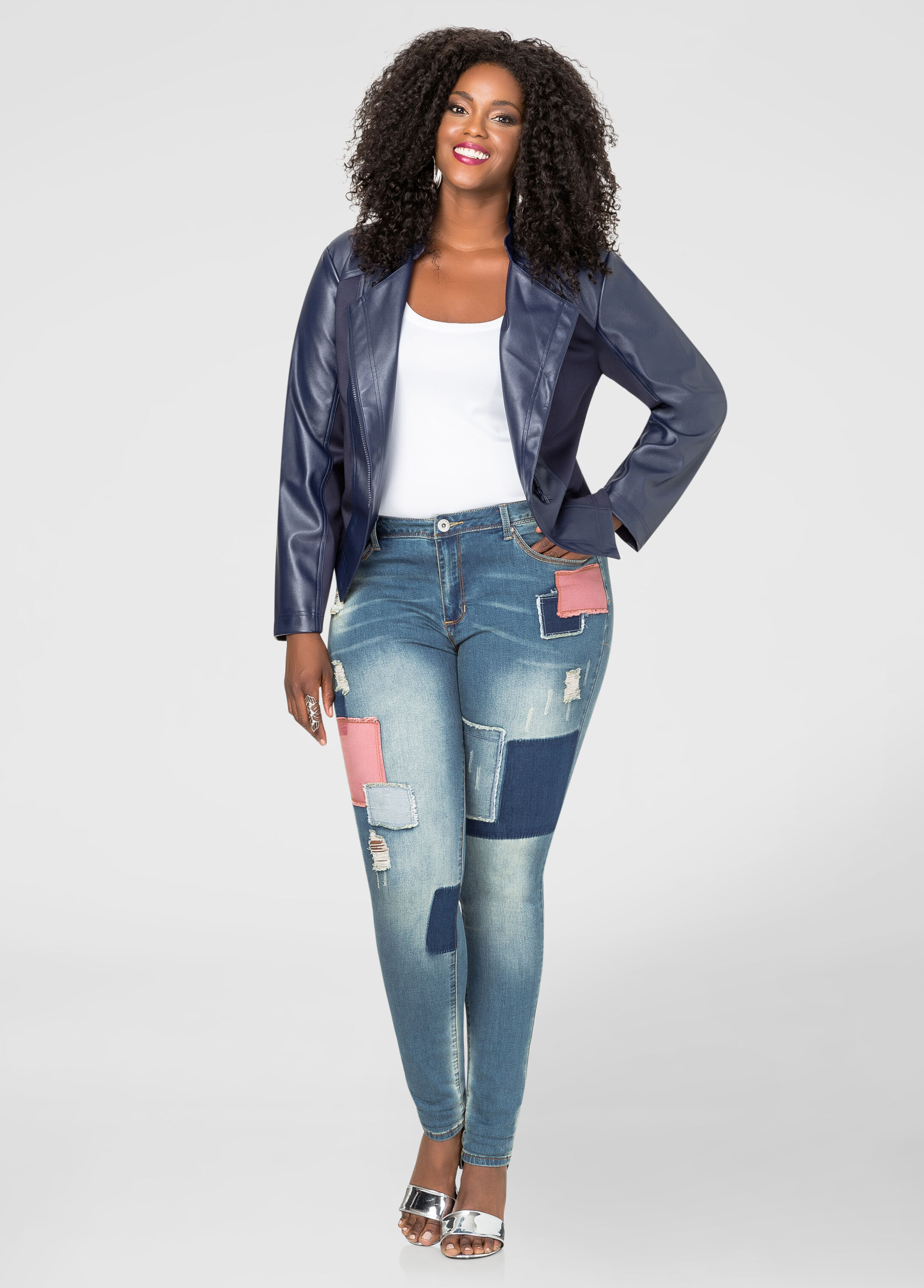 Patchwork Skinny Leg Jean